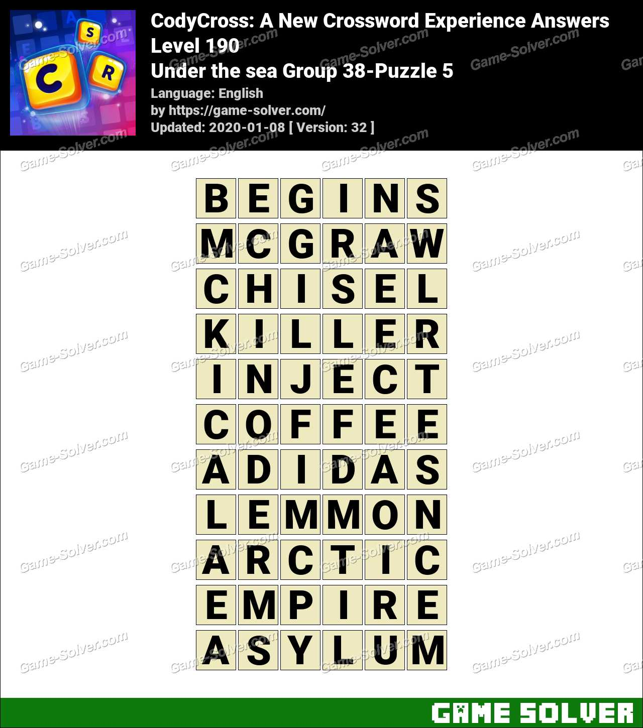 CodyCross Under the sea Group 38-Puzzle 5 Answers