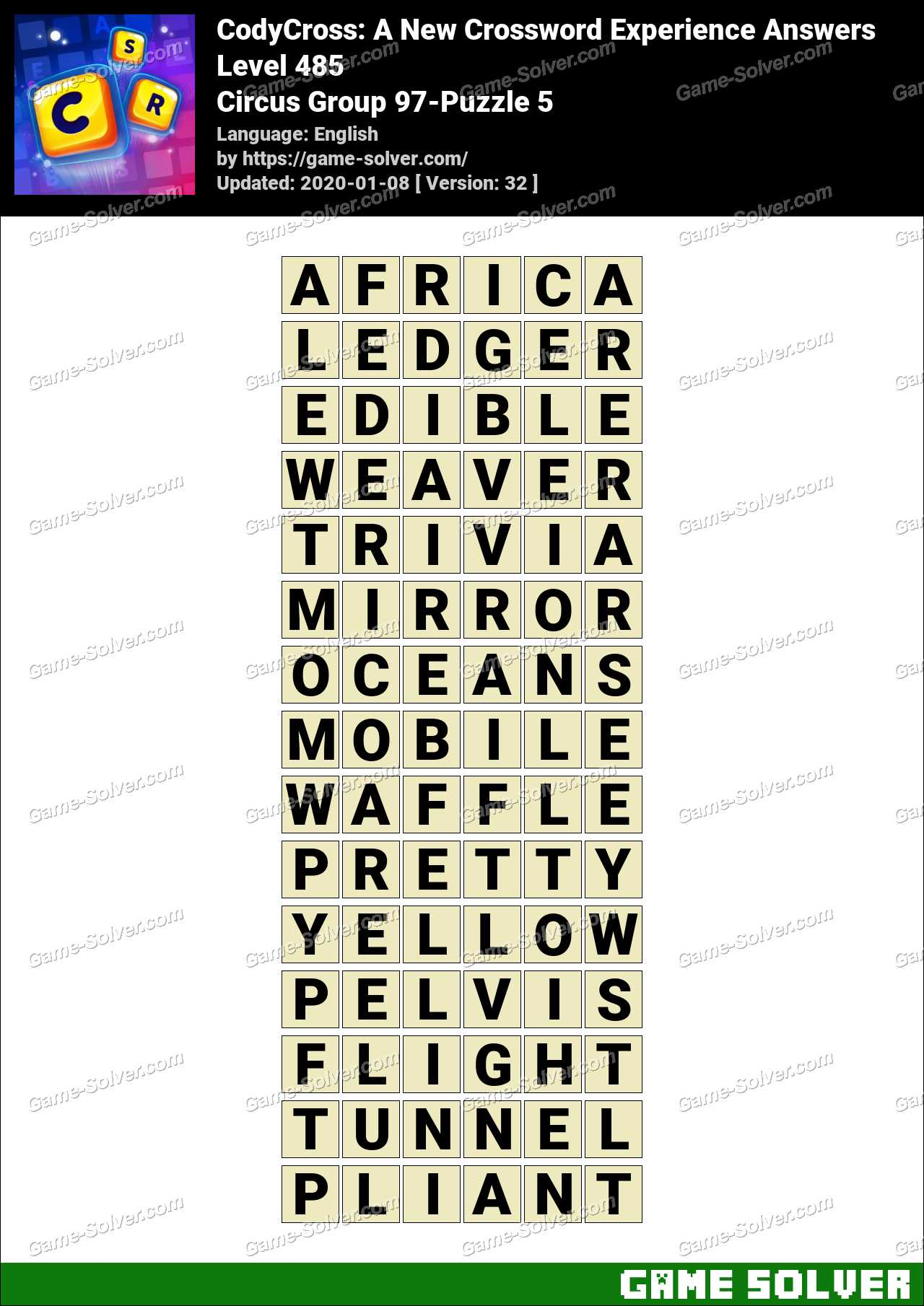 CodyCross Circus Group 97-Puzzle 5 Answers