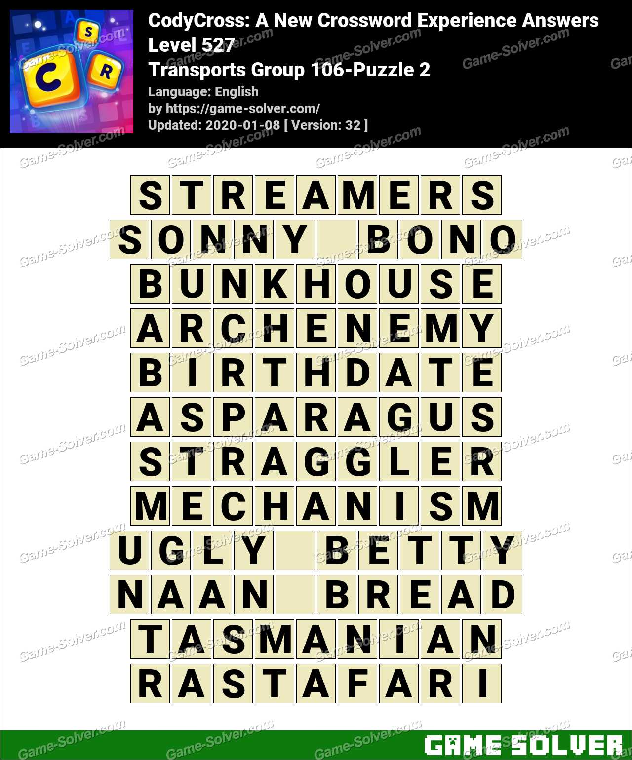 CodyCross Transports Group 106-Puzzle 2 Answers
