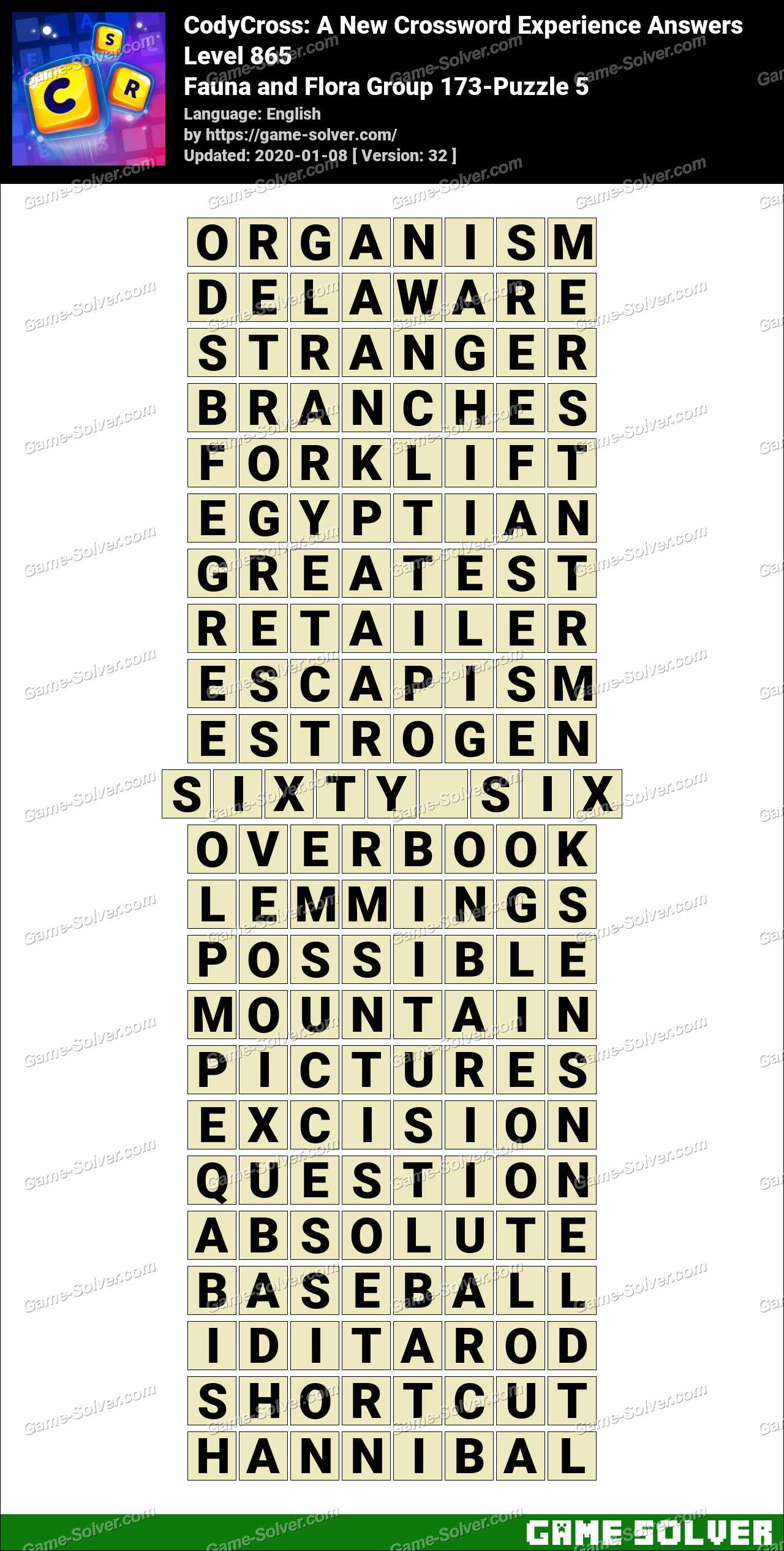 CodyCross Fauna and Flora Group 173-Puzzle 5 Answers