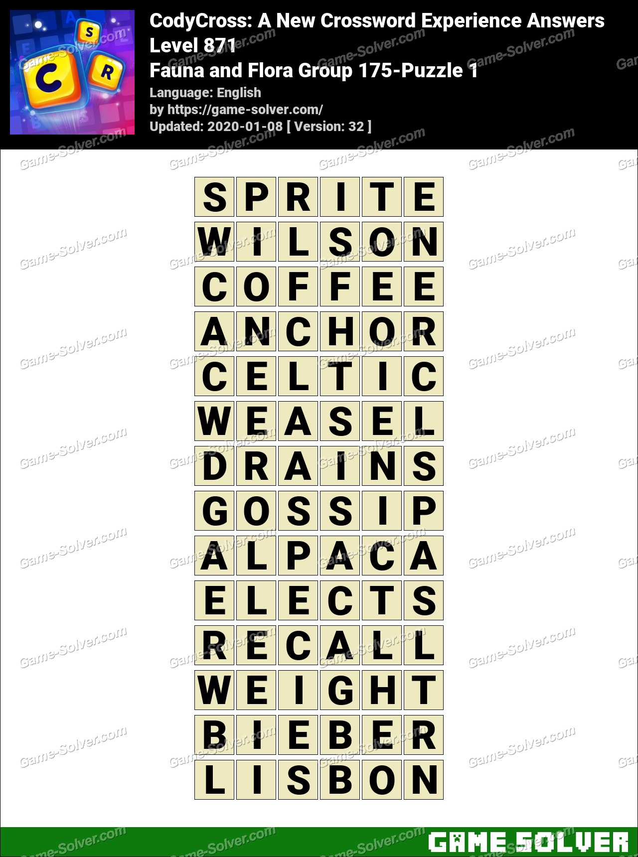 CodyCross Fauna and Flora Group 175-Puzzle 1 Answers