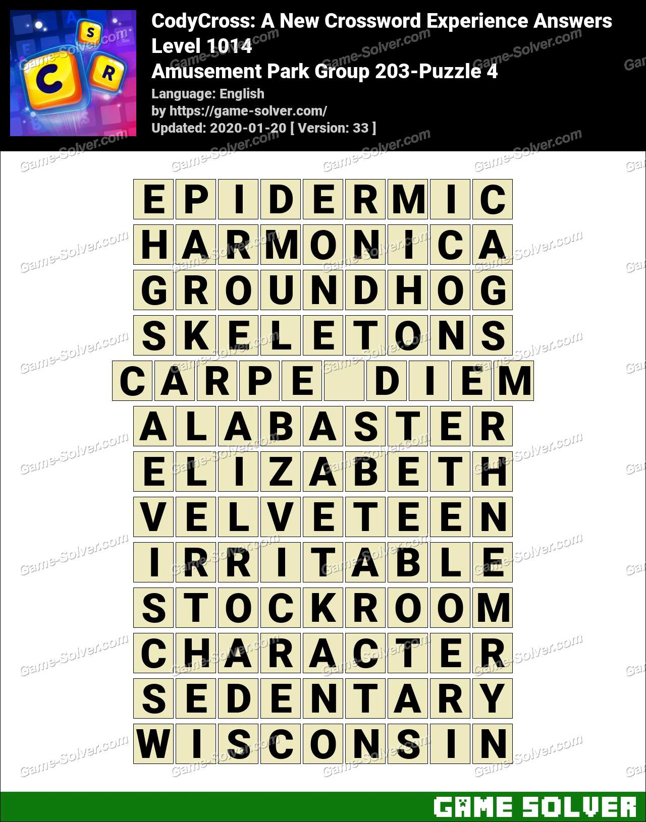 CodyCross Amusement Park Group 203-Puzzle 4 Answers