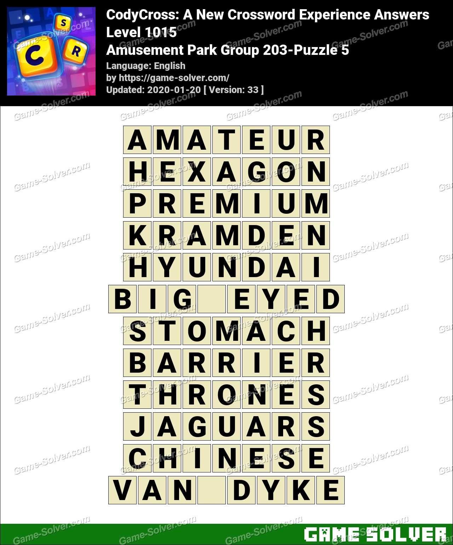 CodyCross Amusement Park Group 203-Puzzle 5 Answers