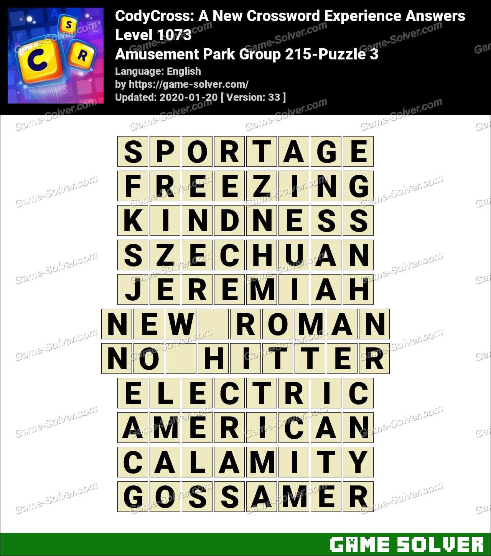 CodyCross Amusement Park Group 215-Puzzle 3 Answers