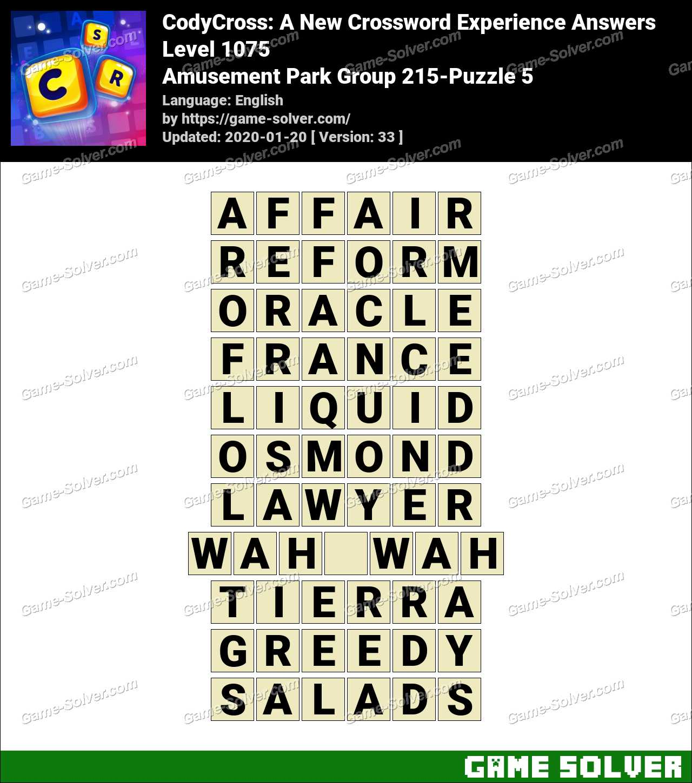 CodyCross Amusement Park Group 215-Puzzle 5 Answers