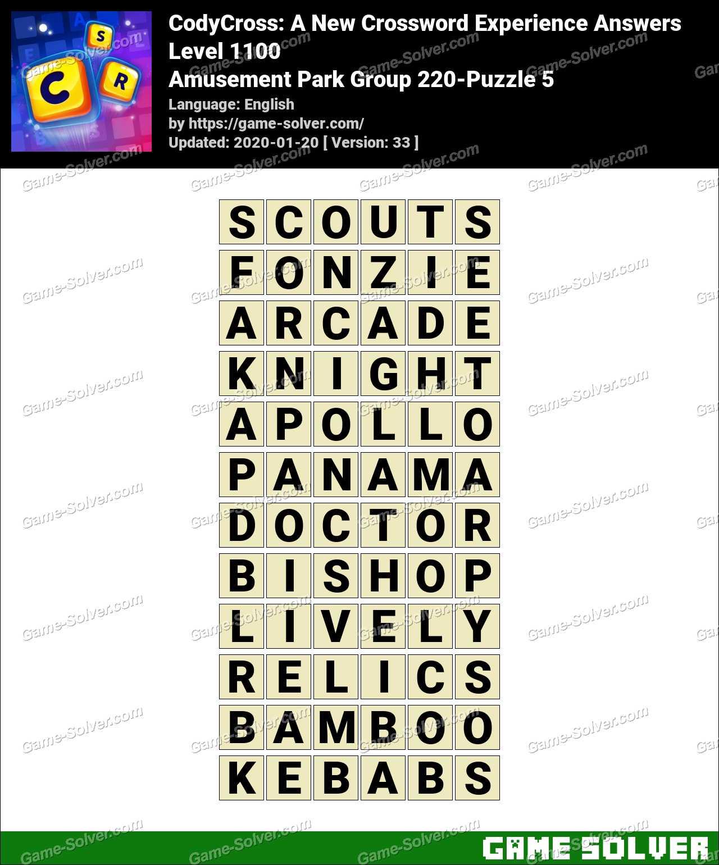 CodyCross Amusement Park Group 220-Puzzle 5 Answers