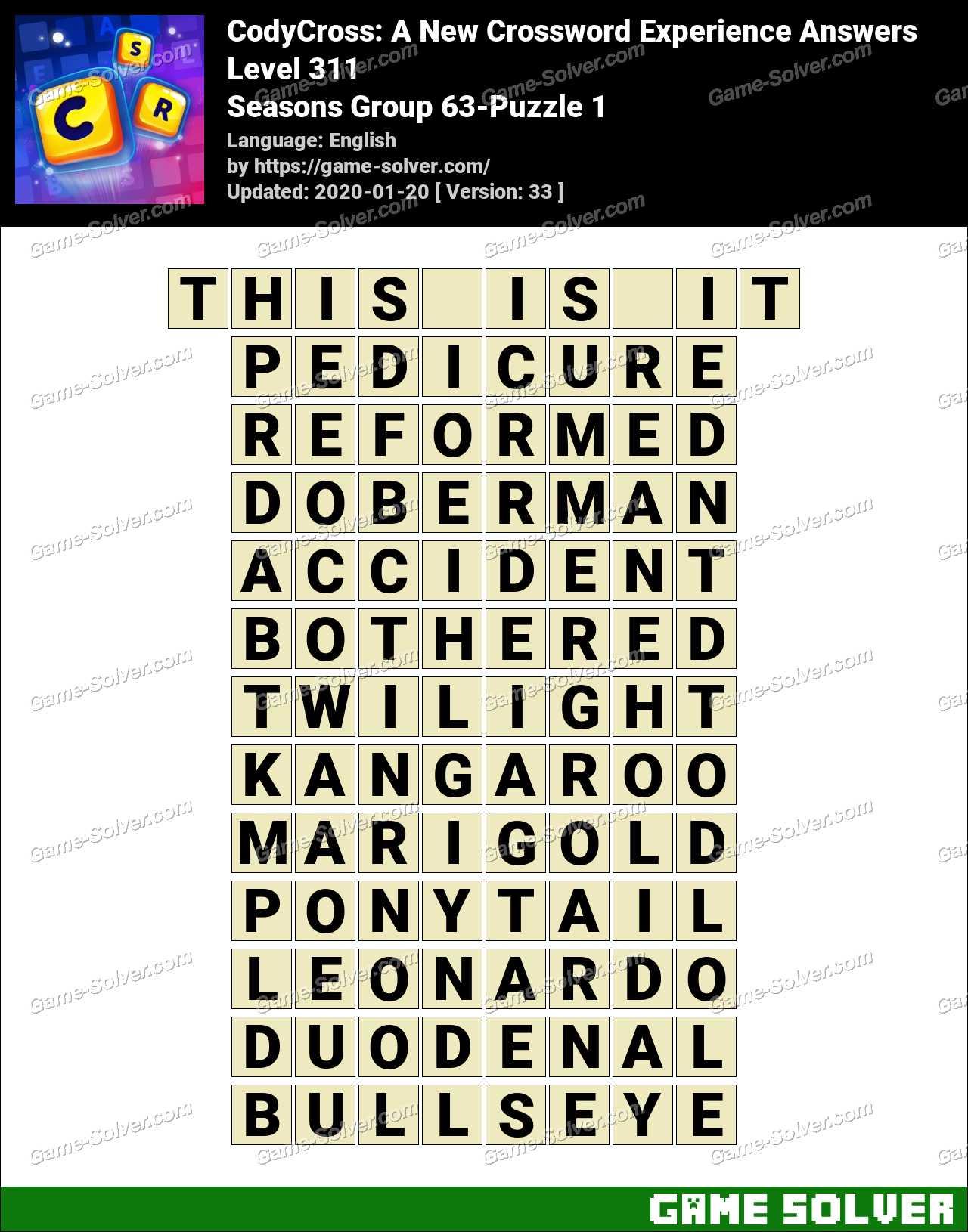 CodyCross Seasons Group 63-Puzzle 1 Answers