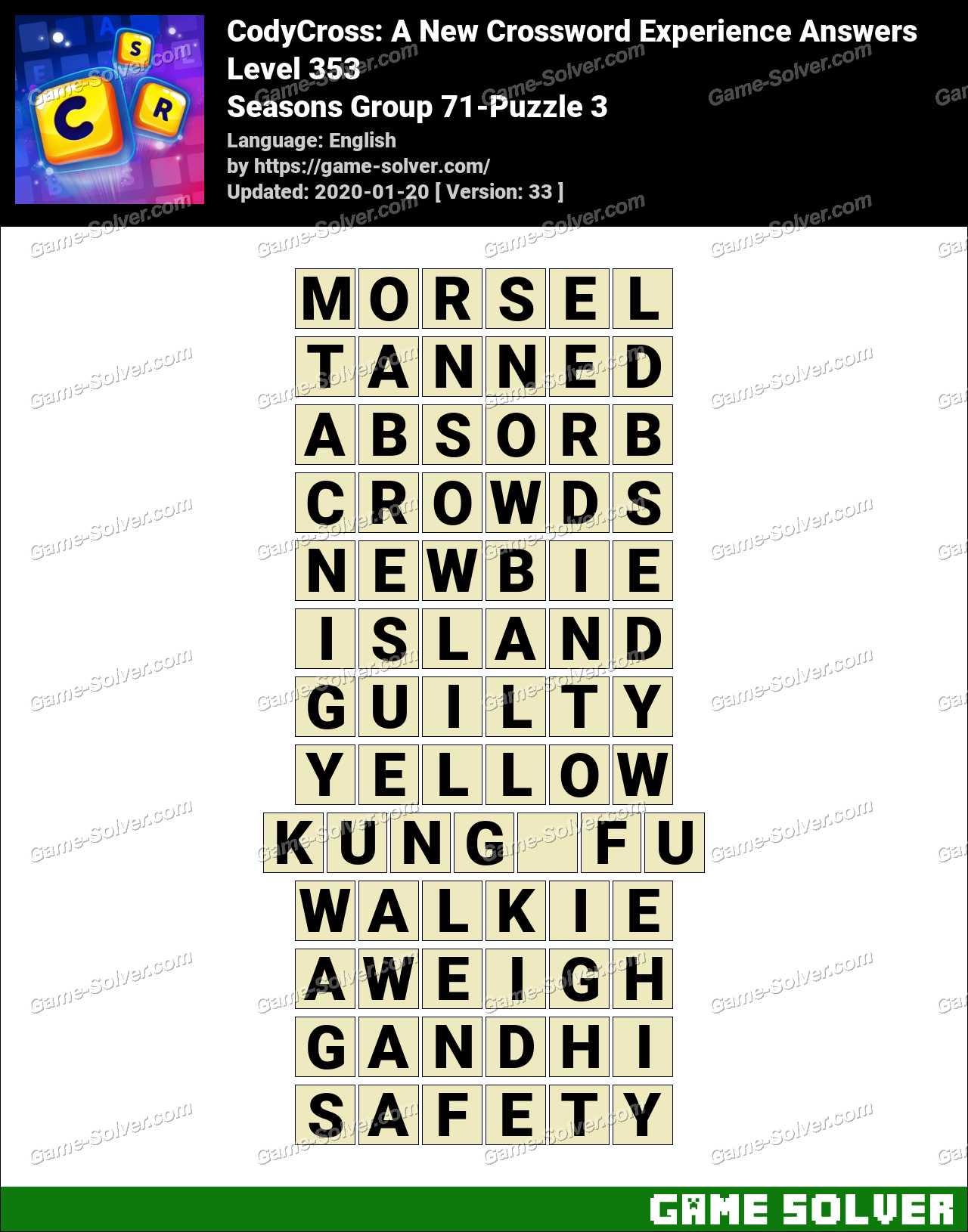 CodyCross Seasons Group 71-Puzzle 3 Answers