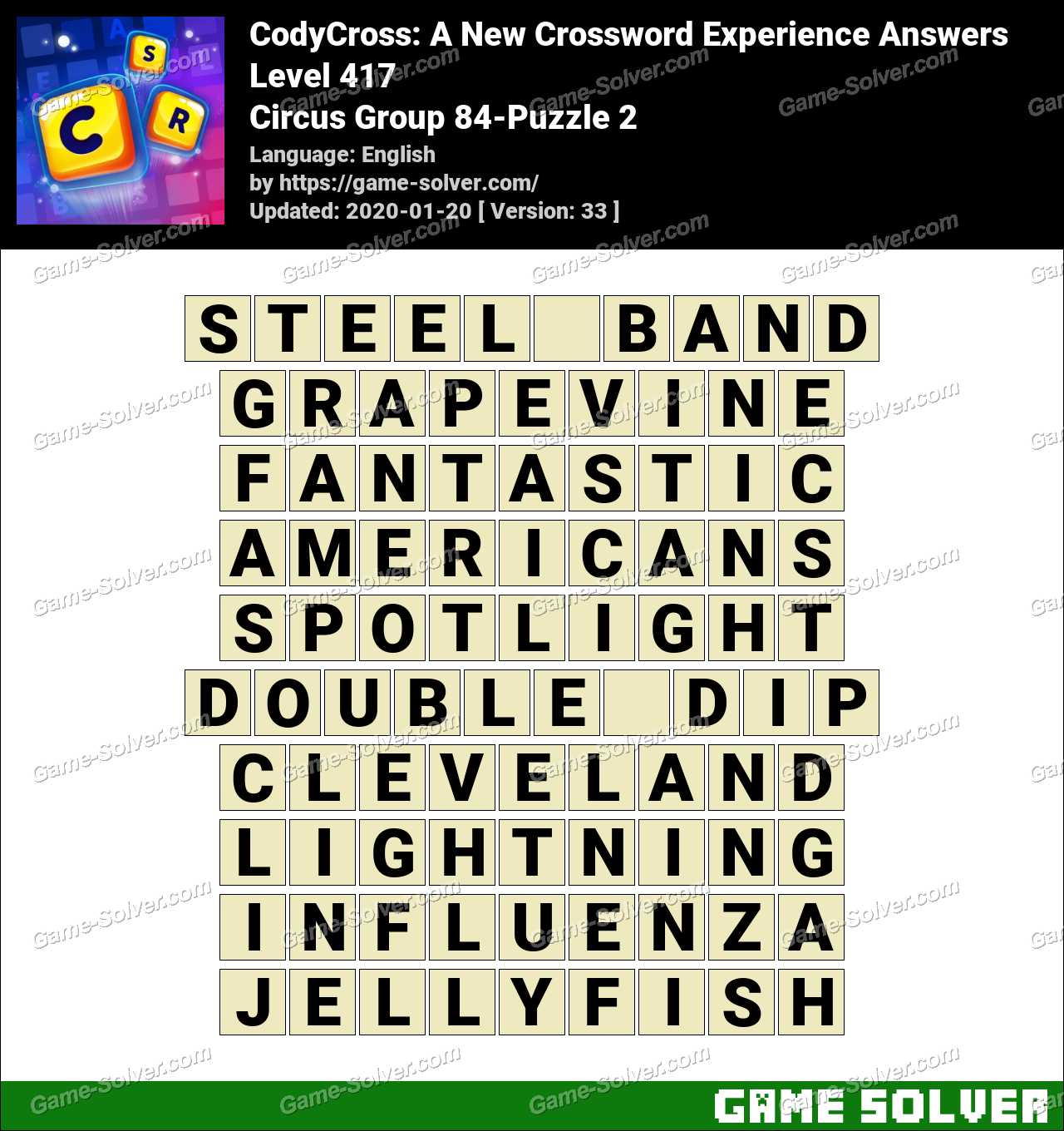 CodyCross Circus Group 84-Puzzle 2 Answers