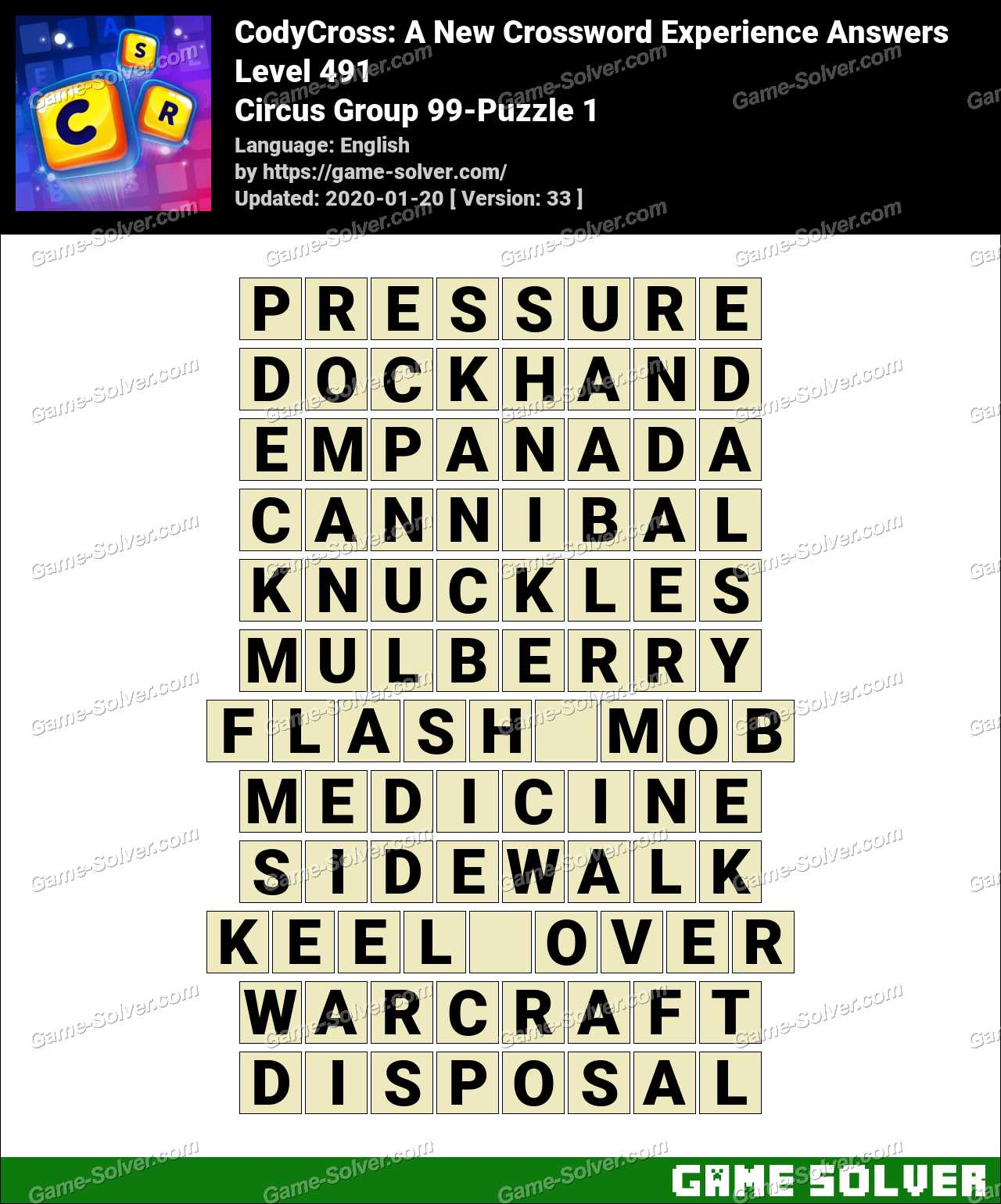 CodyCross Circus Group 99-Puzzle 1 Answers