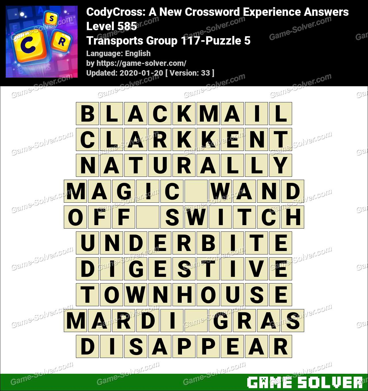 CodyCross Transports Group 117-Puzzle 5 Answers