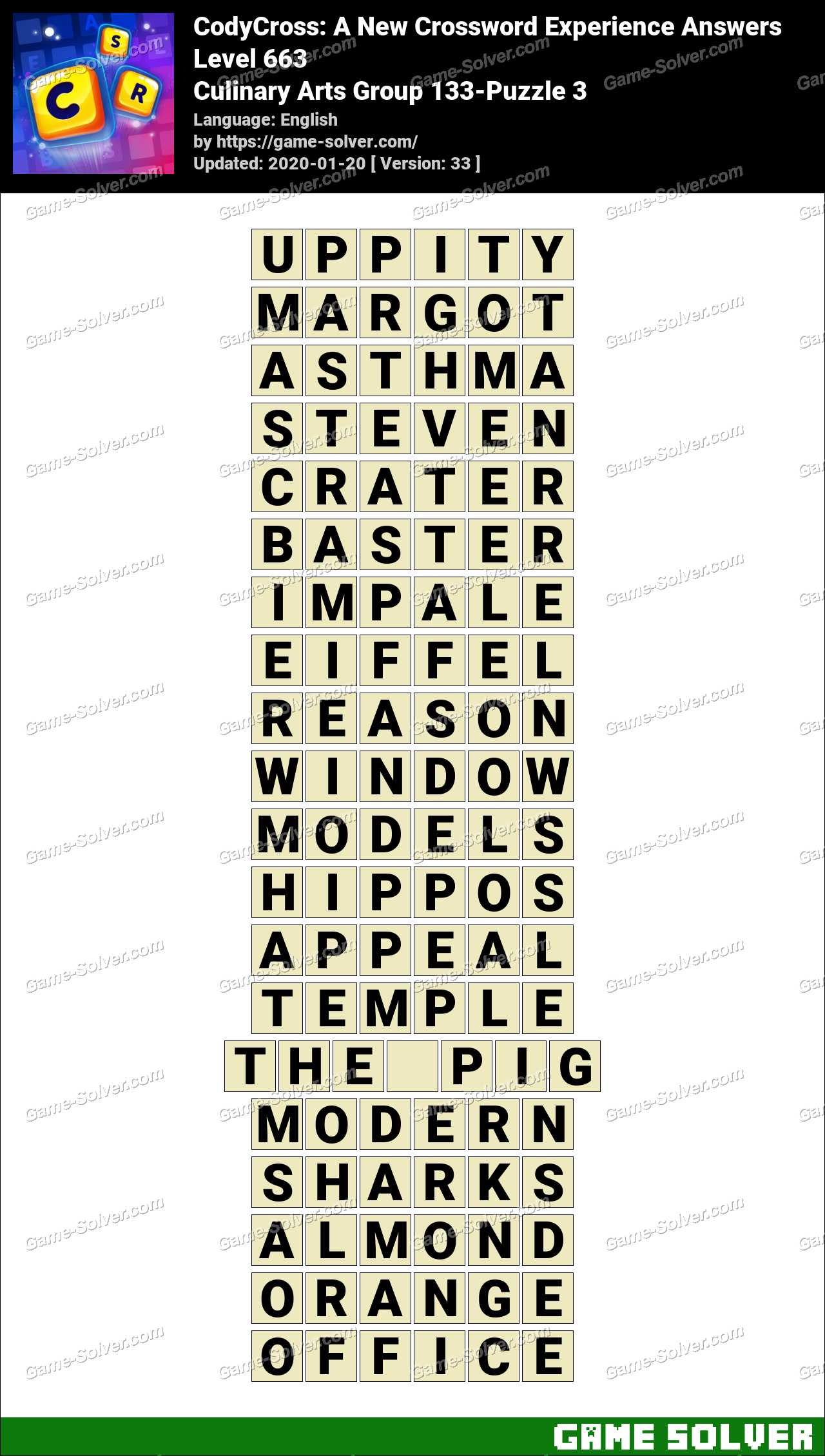 CodyCross Culinary Arts Group 133-Puzzle 3 Answers