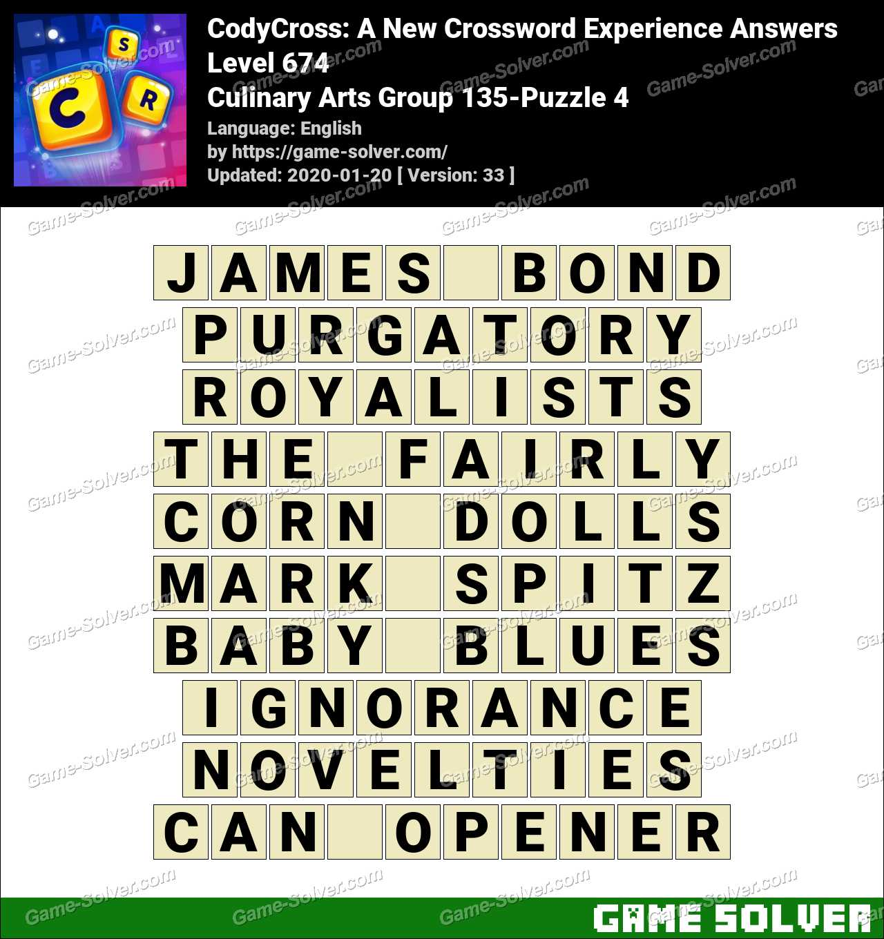 CodyCross Culinary Arts Group 135-Puzzle 4 Answers