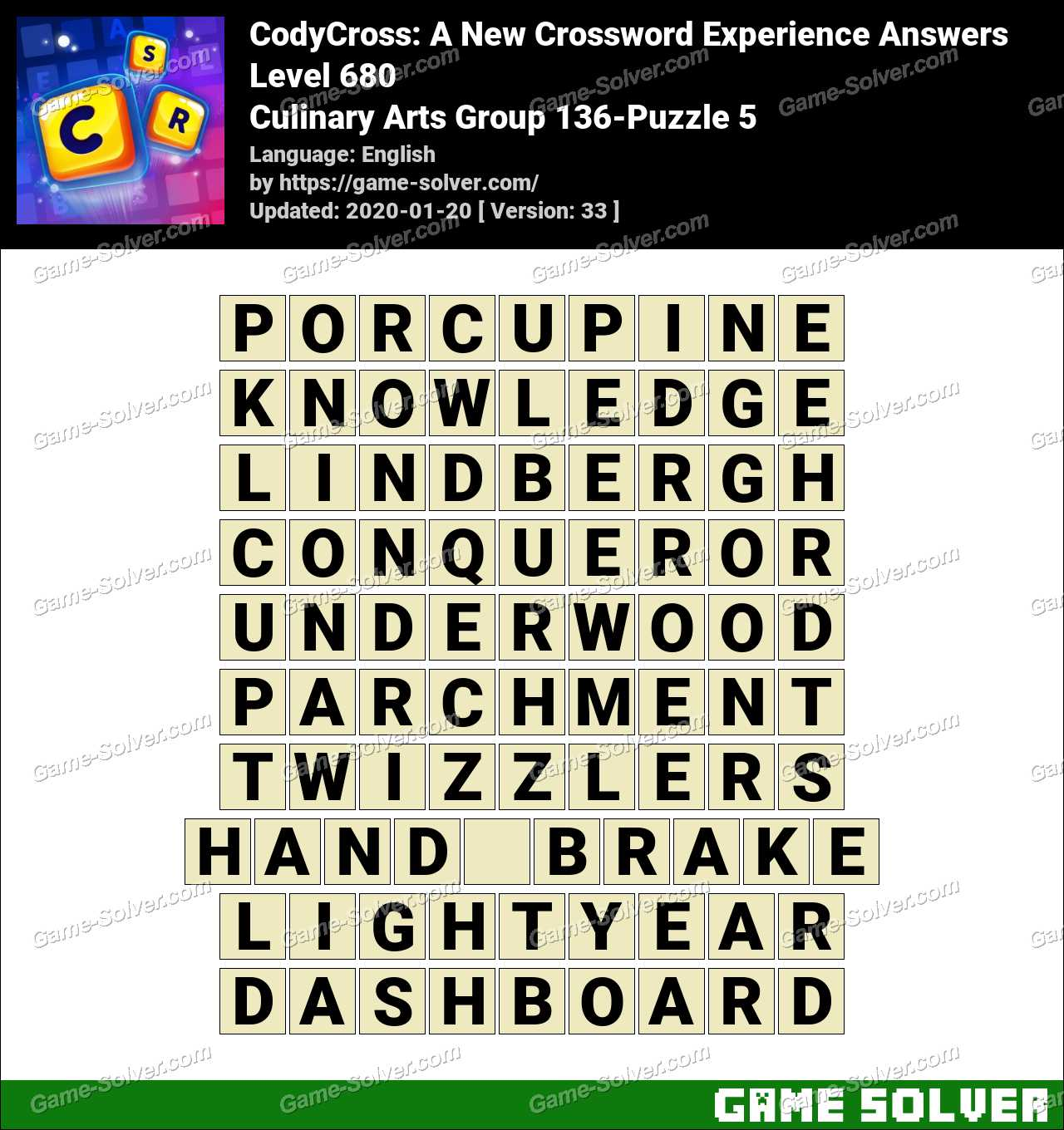 CodyCross Culinary Arts Group 136-Puzzle 5 Answers