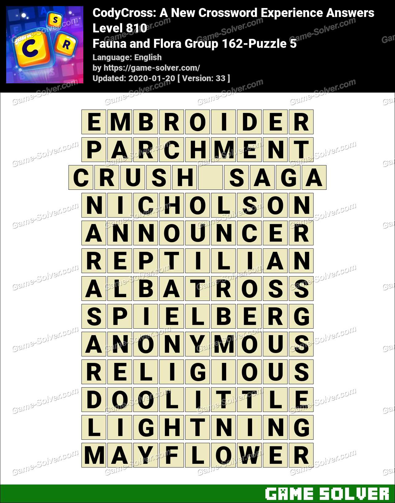 CodyCross Fauna and Flora Group 162-Puzzle 5 Answers