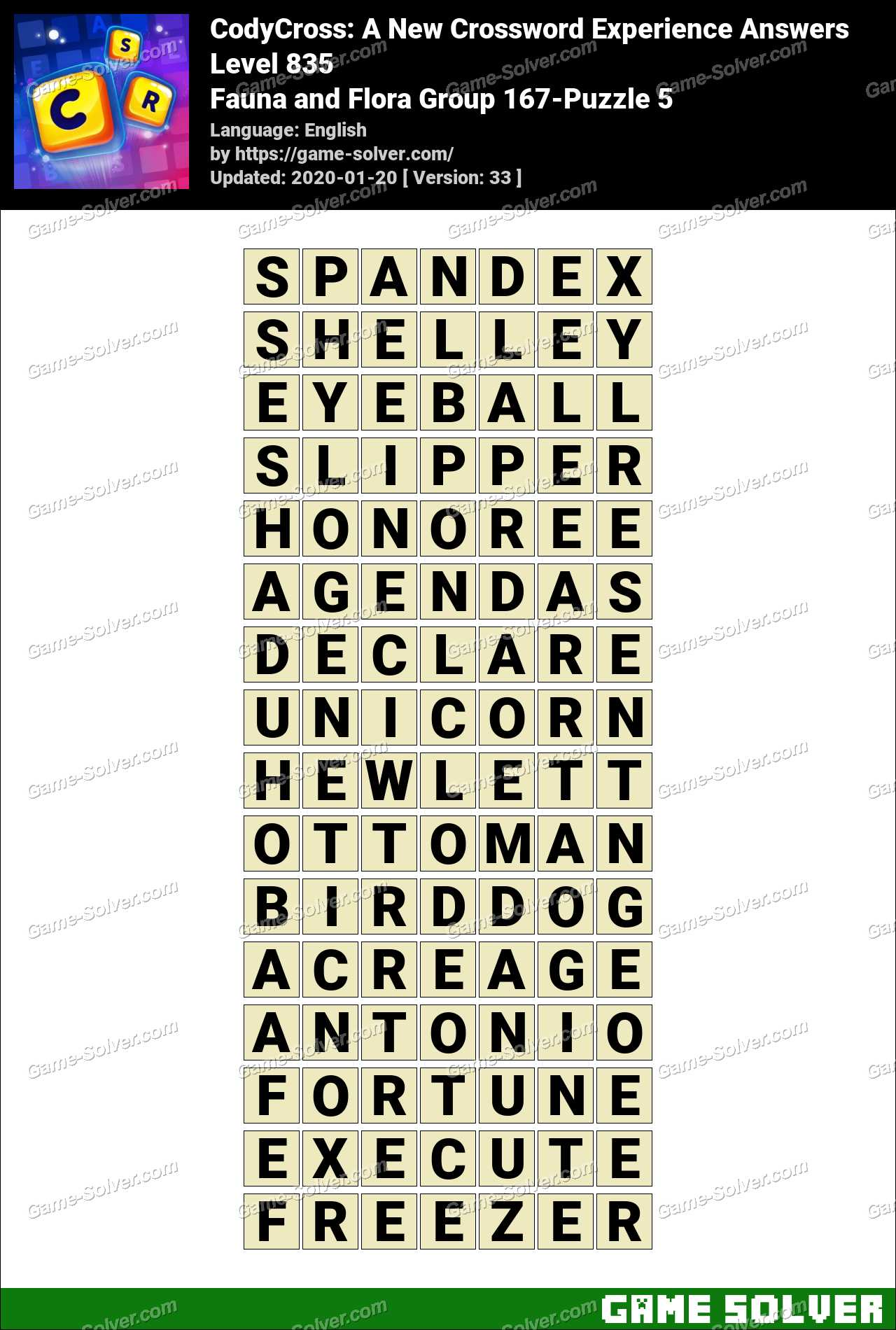 CodyCross Fauna and Flora Group 167-Puzzle 5 Answers