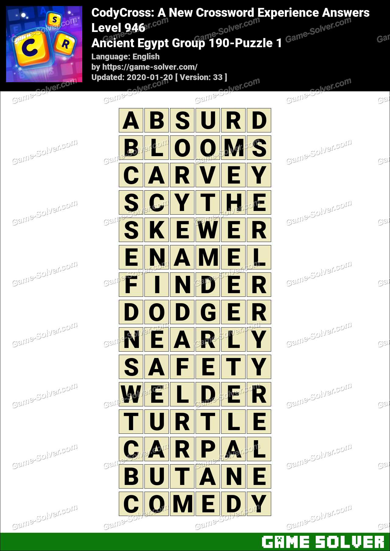 CodyCross Ancient Egypt Group 190-Puzzle 1 Answers
