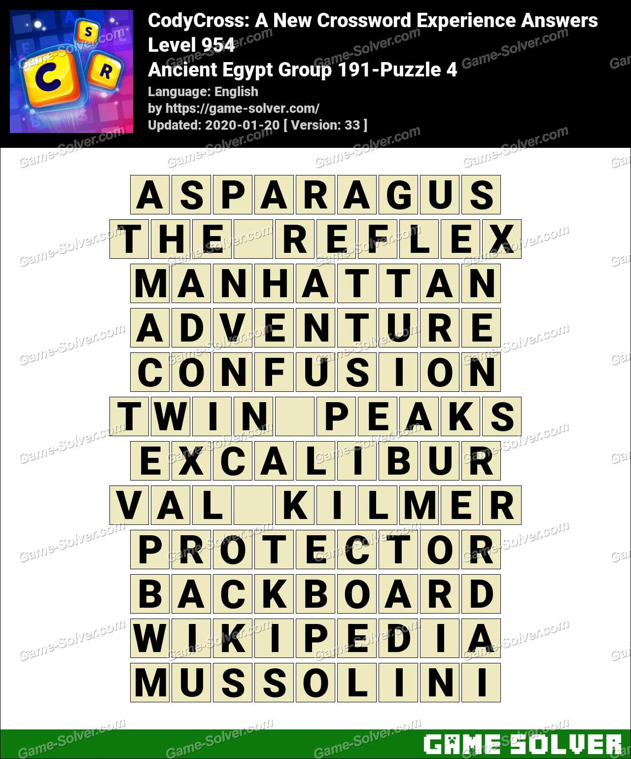 CodyCross Ancient Egypt Group 191-Puzzle 4 Answers