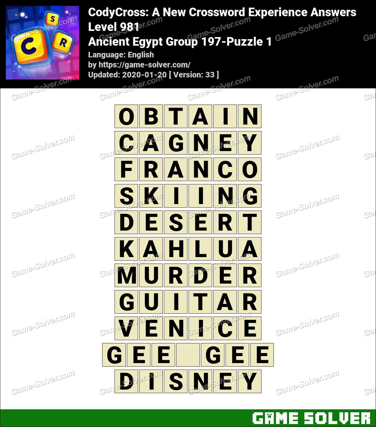 CodyCross Ancient Egypt Group 197-Puzzle 1 Answers