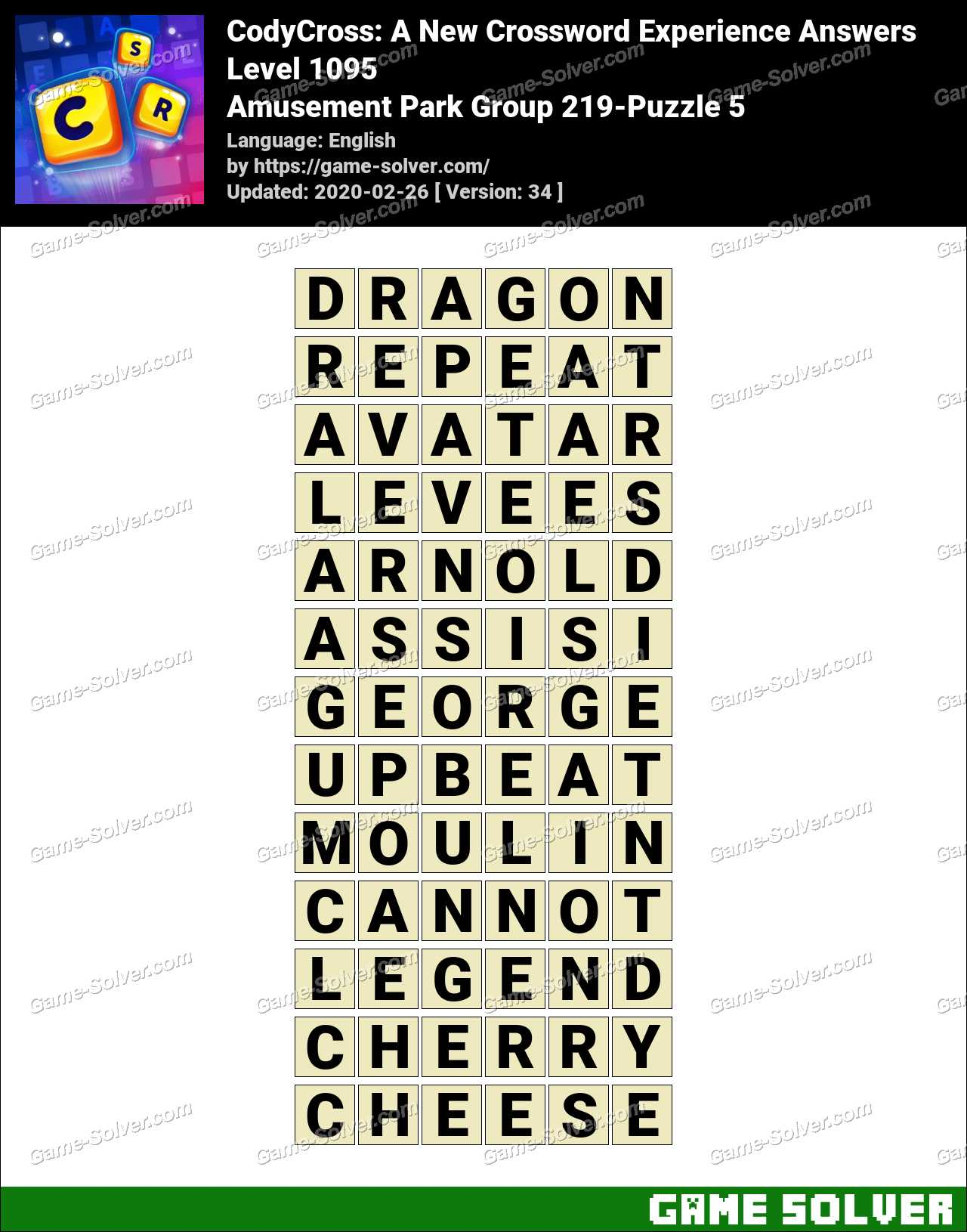 CodyCross Amusement Park Group 219-Puzzle 5 Answers