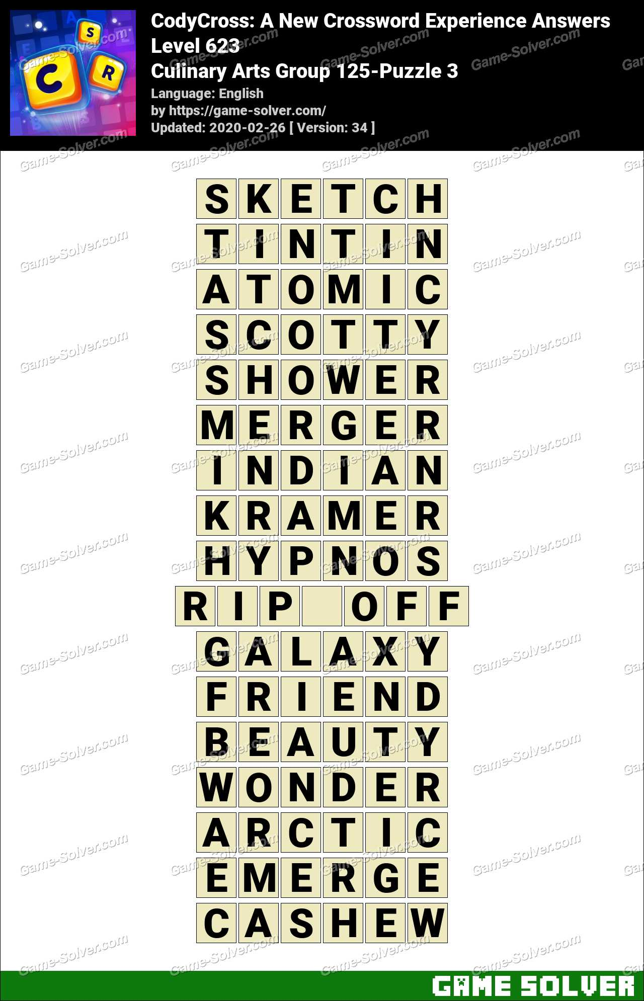 CodyCross Culinary Arts Group 125-Puzzle 3 Answers