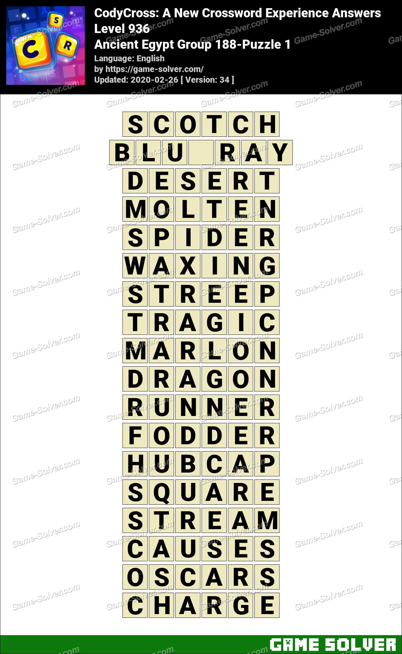 CodyCross Ancient Egypt Group 188-Puzzle 1 Answers