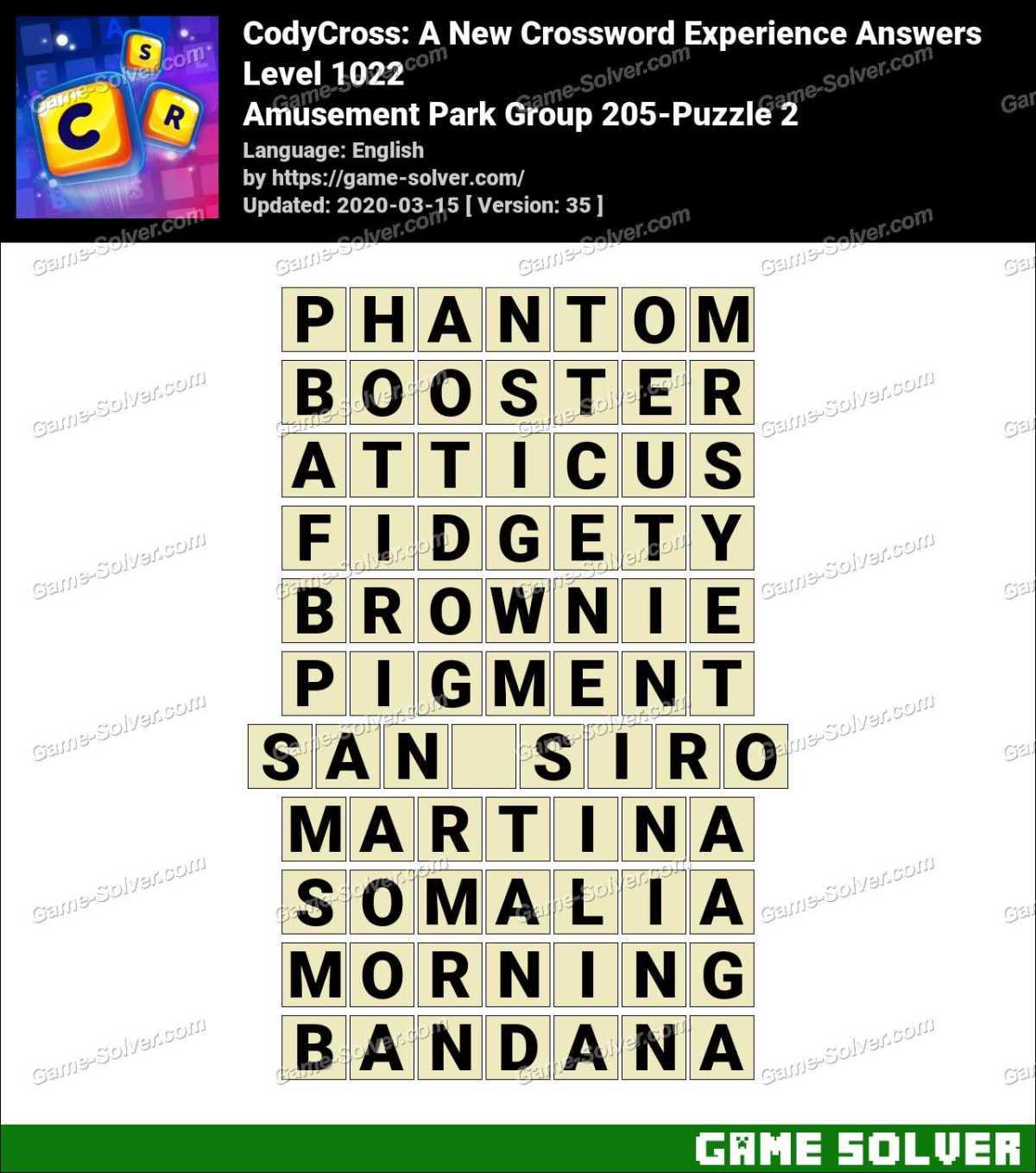 CodyCross Amusement Park Group 205-Puzzle 2 Answers