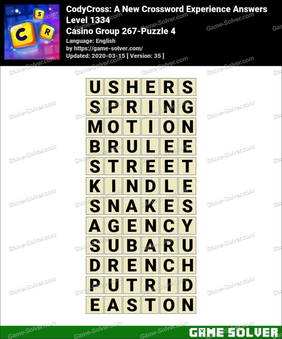 CodyCross Casino Group 267-Puzzle 4 Answers