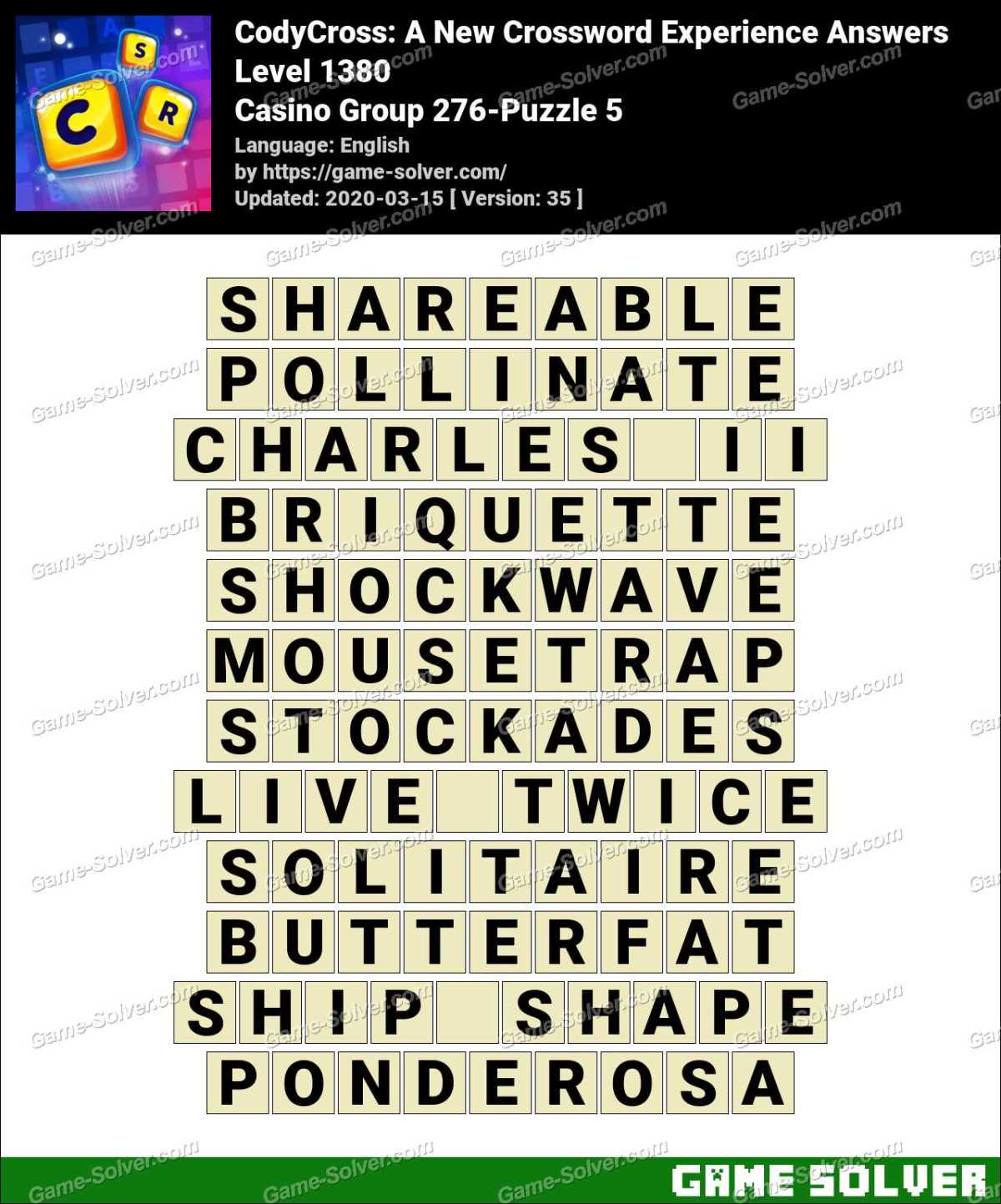 CodyCross Casino Group 276-Puzzle 5 Answers