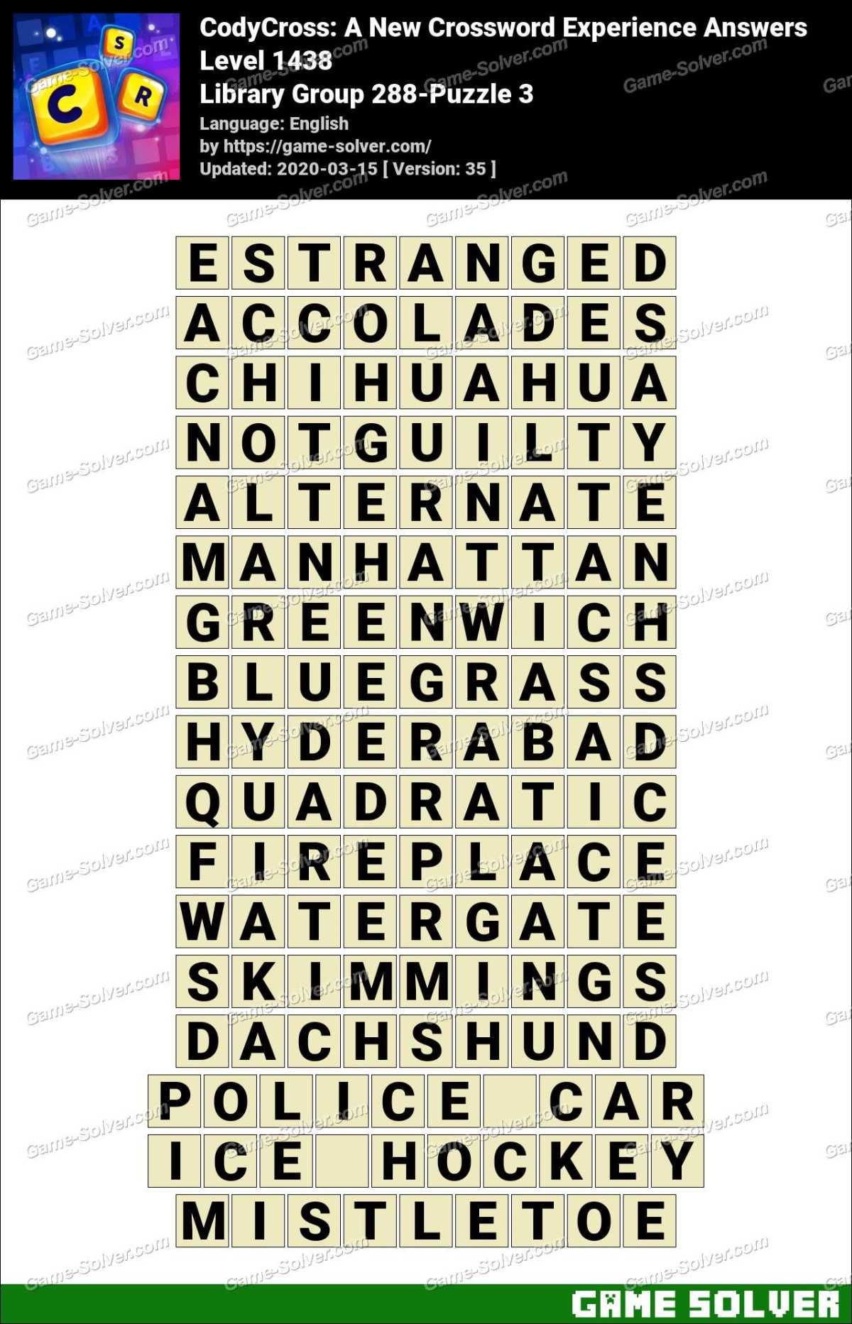 CodyCross Library Group 288-Puzzle 3 Answers