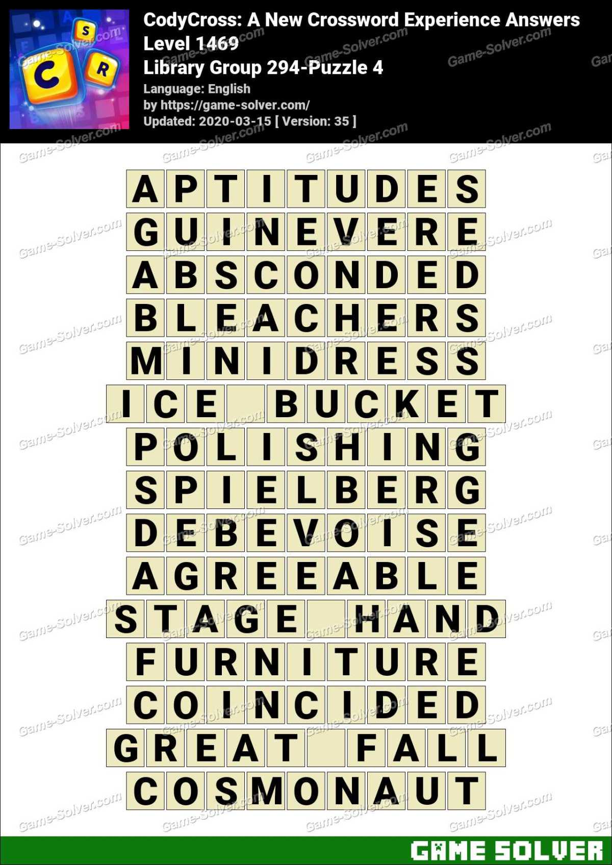 CodyCross Library Group 294-Puzzle 4 Answers