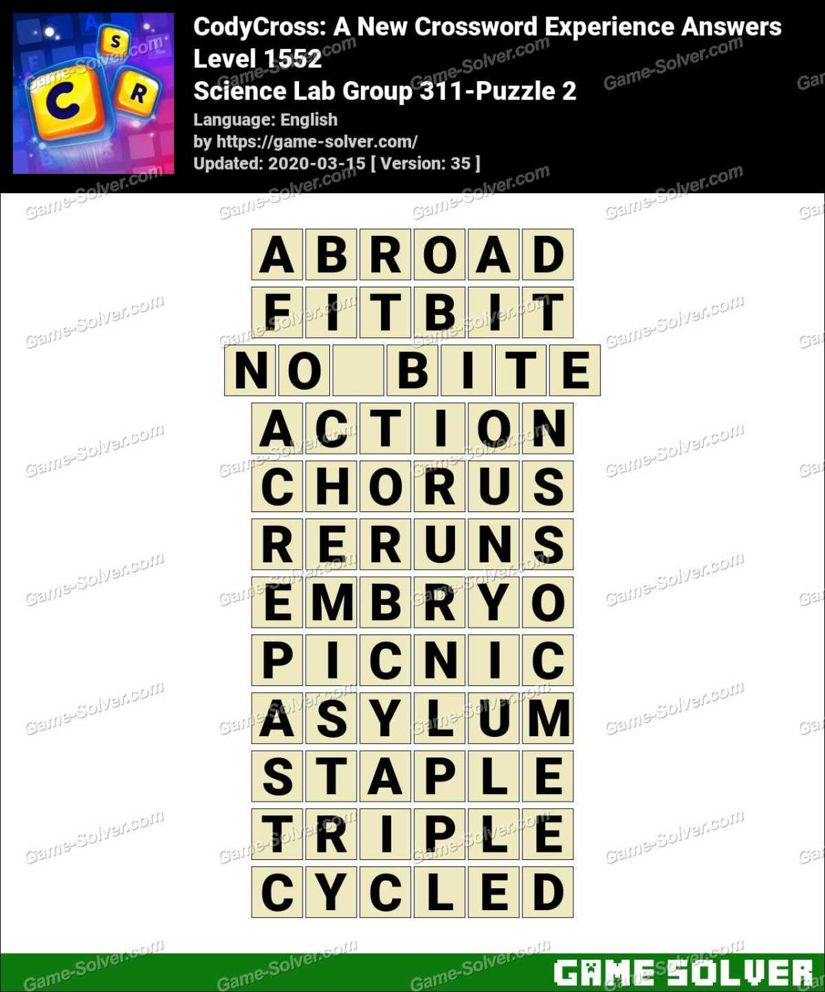 CodyCross Science Lab Group 311-Puzzle 2 Answers