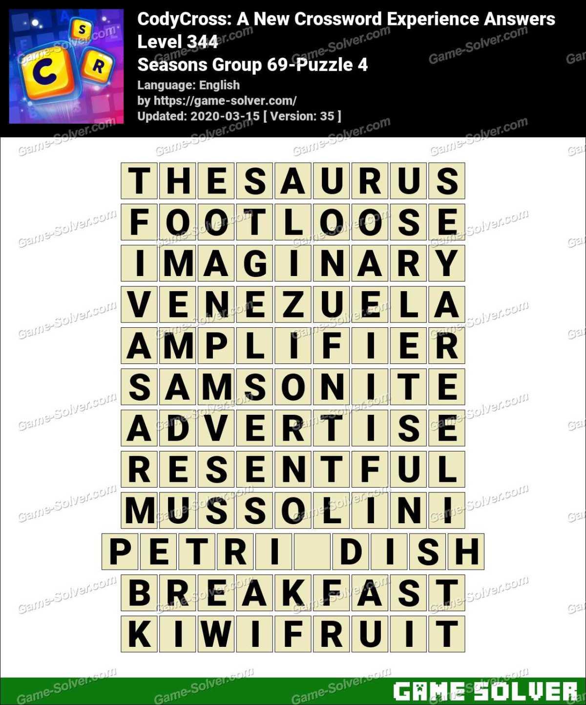 CodyCross Seasons Group 69-Puzzle 4 Answers