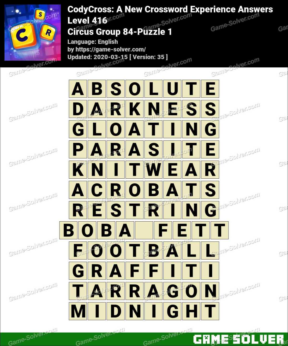 CodyCross Circus Group 84-Puzzle 1 Answers