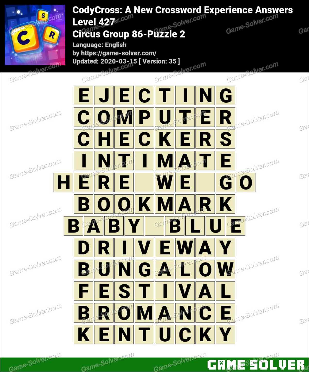 CodyCross Circus Group 86-Puzzle 2 Answers