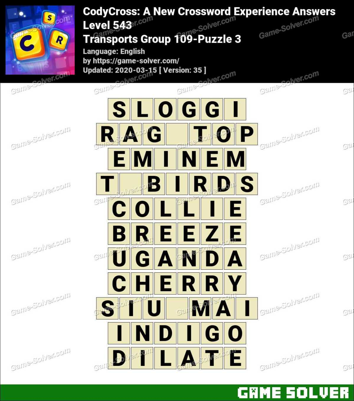 CodyCross Transports Group 109-Puzzle 3 Answers
