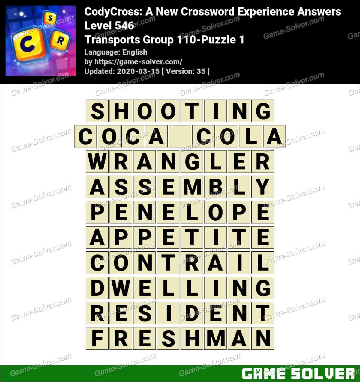 CodyCross Transports Group 110-Puzzle 1 Answers