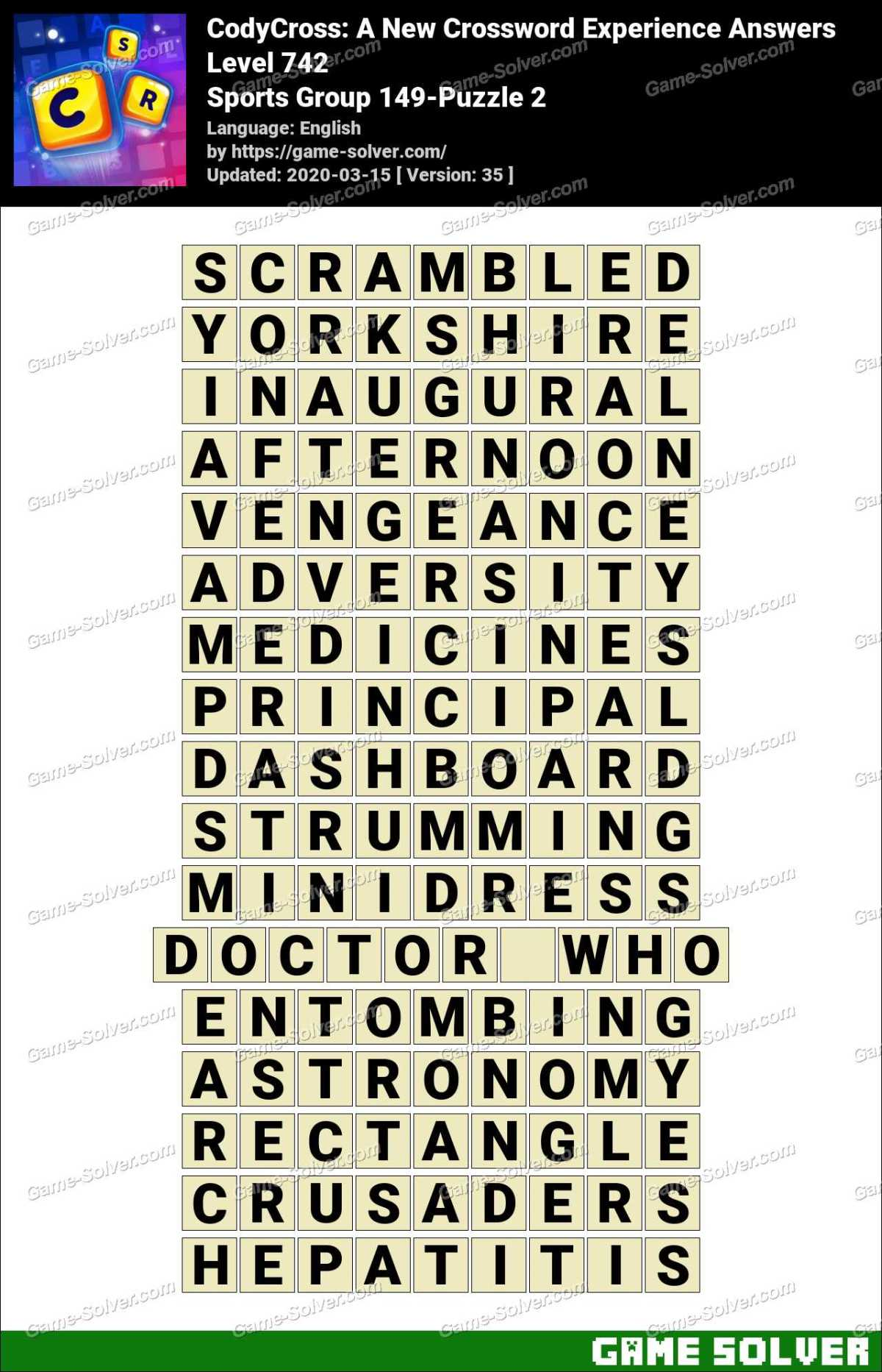 CodyCross Sports Group 149-Puzzle 2 Answers