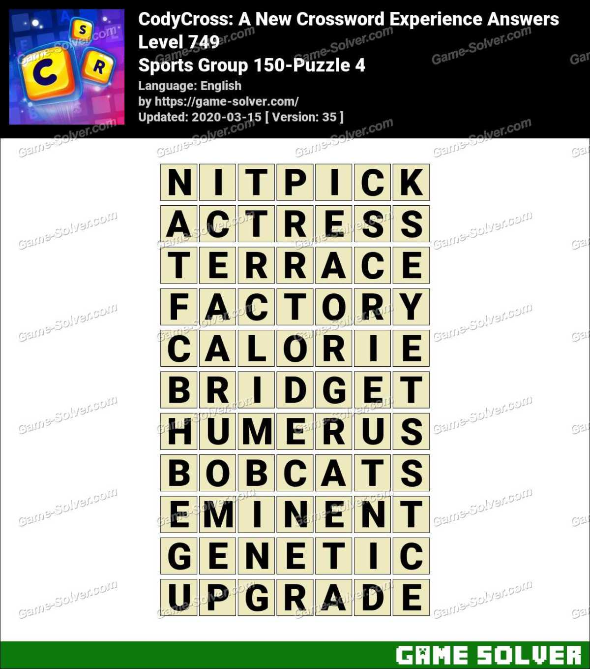 CodyCross Sports Group 150-Puzzle 4 Answers