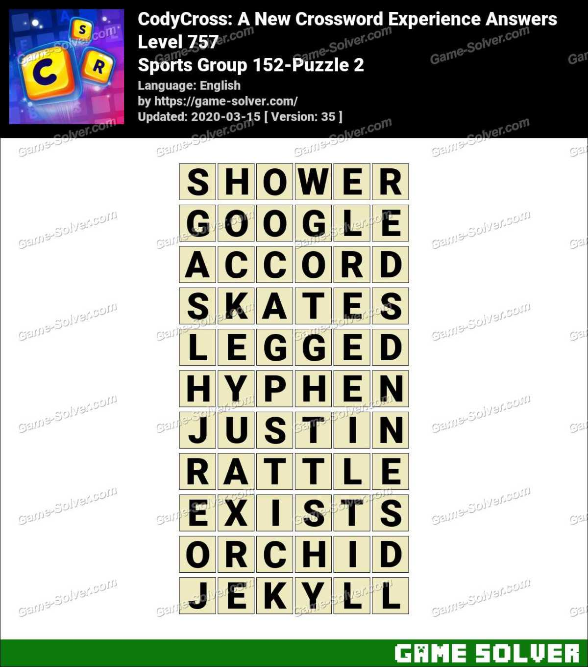 CodyCross Sports Group 152-Puzzle 2 Answers