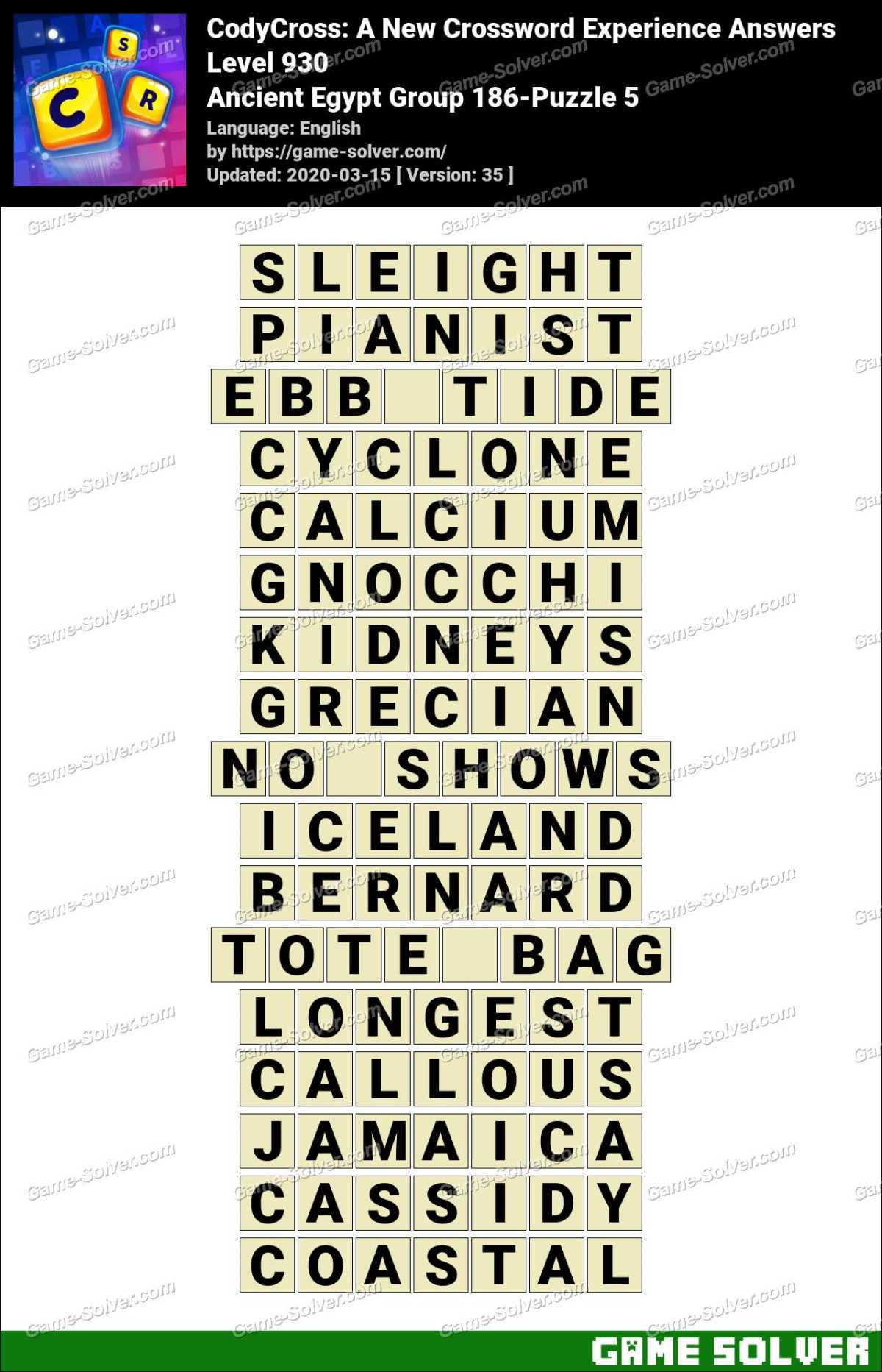 CodyCross Ancient Egypt Group 186-Puzzle 5 Answers