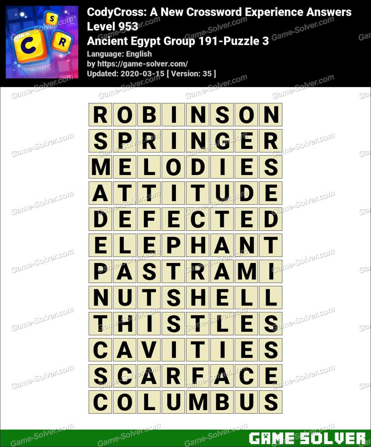 CodyCross Ancient Egypt Group 191-Puzzle 3 Answers