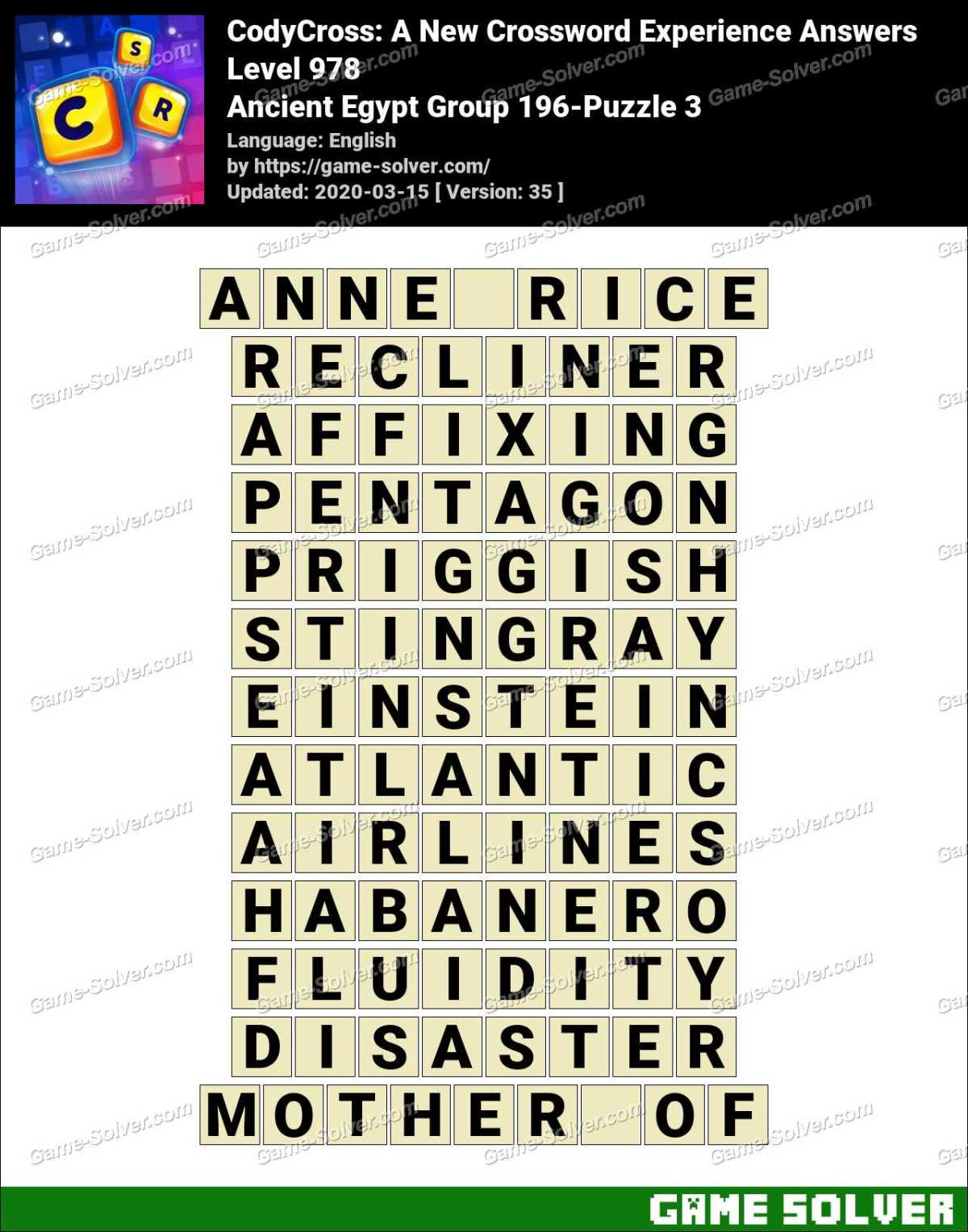 CodyCross Ancient Egypt Group 196-Puzzle 3 Answers