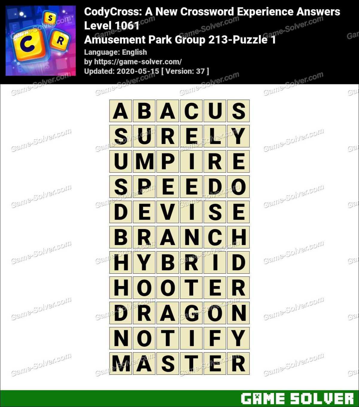 CodyCross Amusement Park Group 213-Puzzle 1 Answers