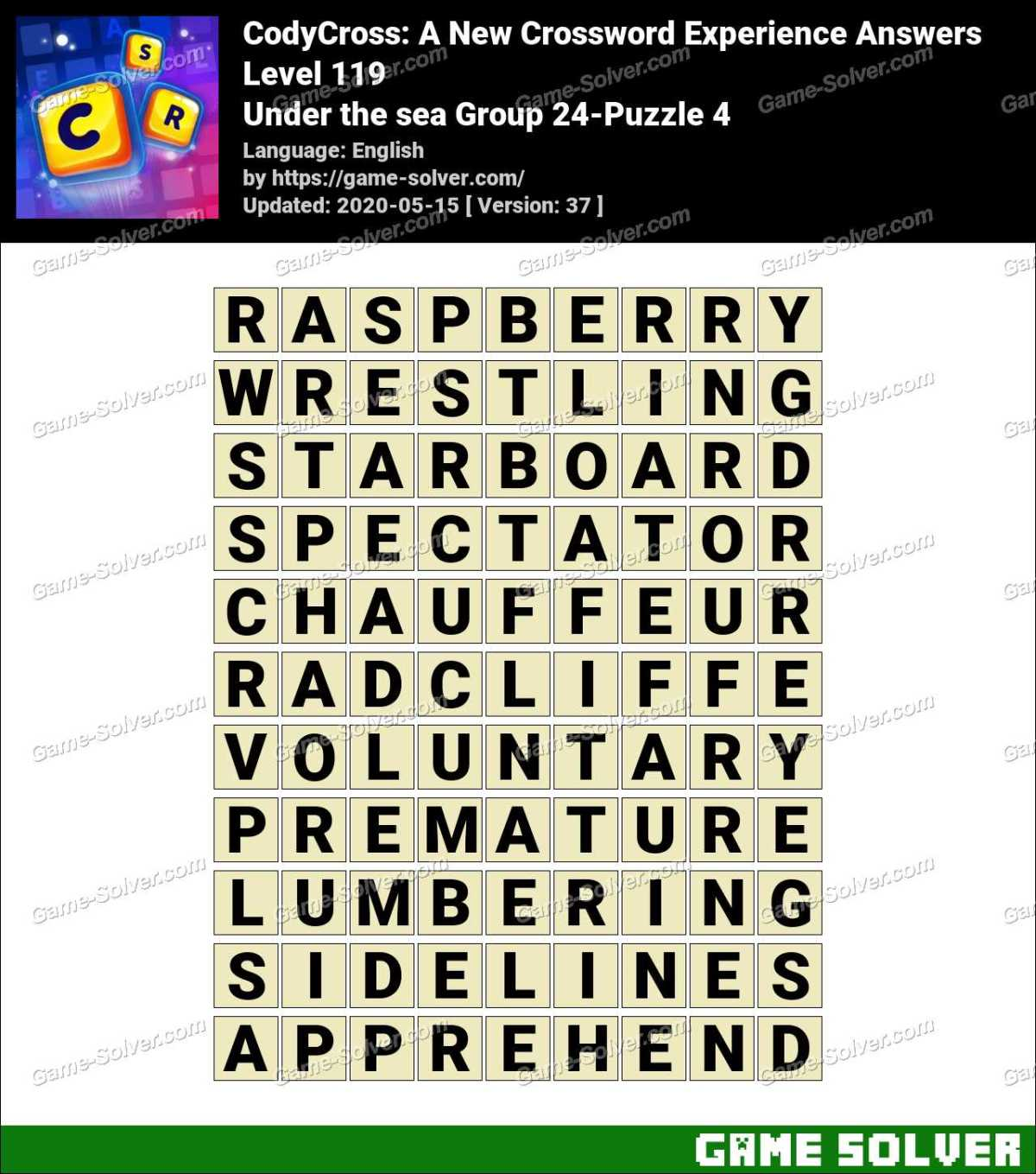 CodyCross Under the sea Group 24-Puzzle 4 Answers