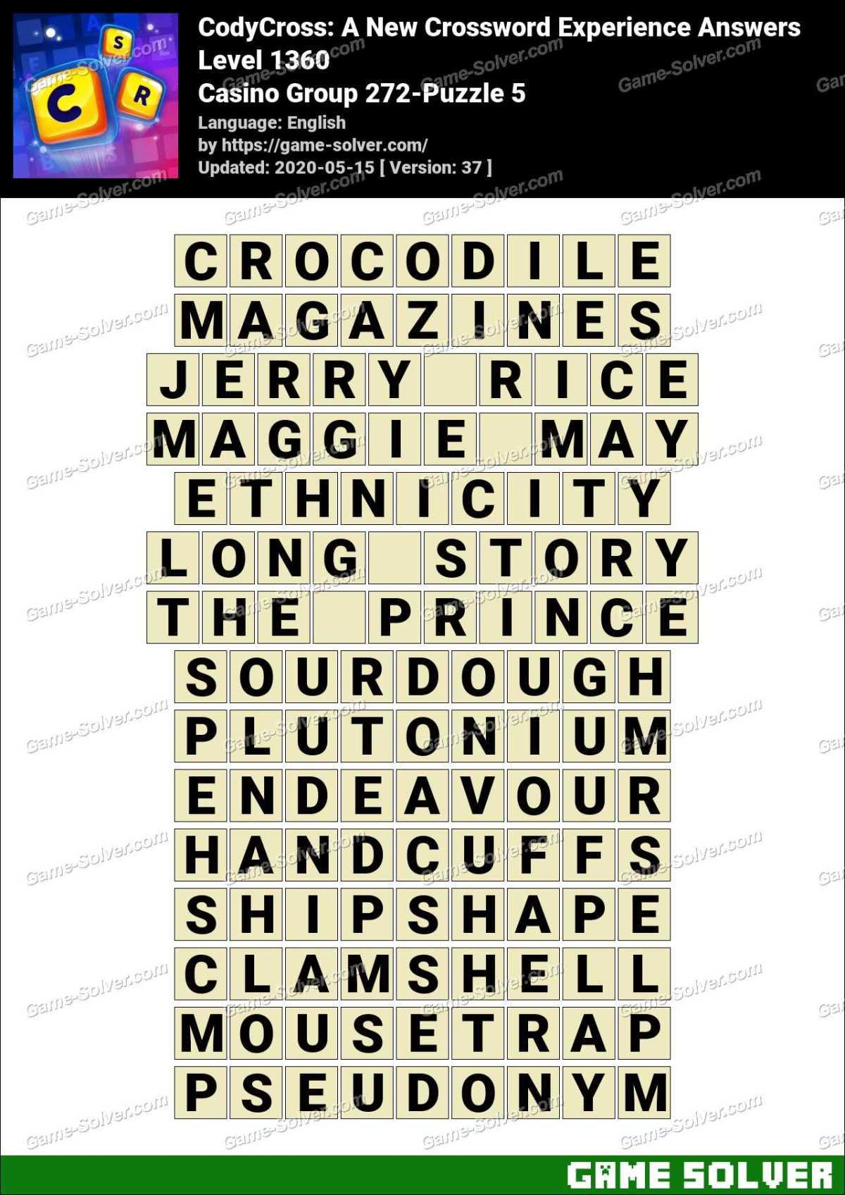 CodyCross Casino Group 272-Puzzle 5 Answers