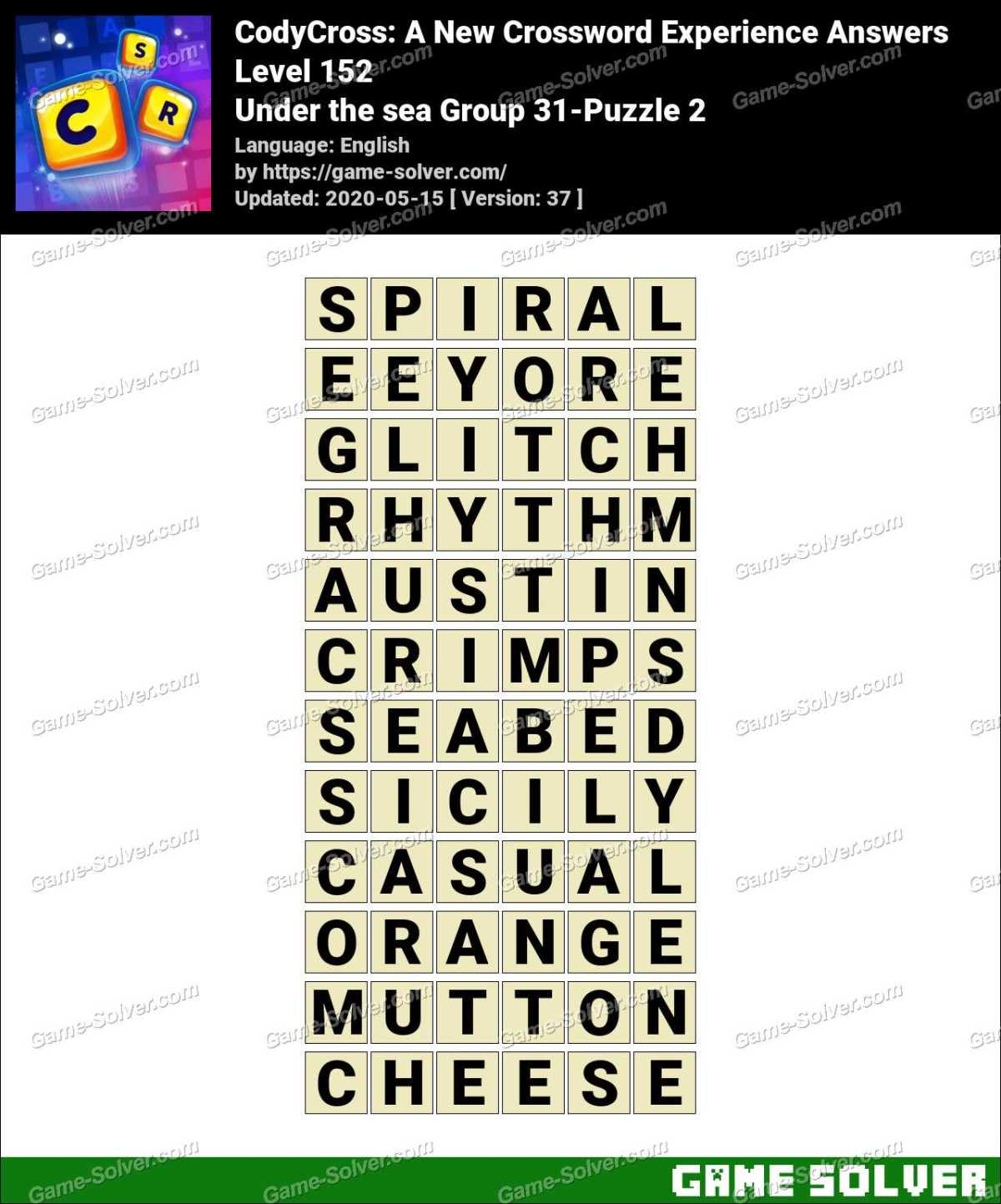 CodyCross Under the sea Group 31-Puzzle 2 Answers