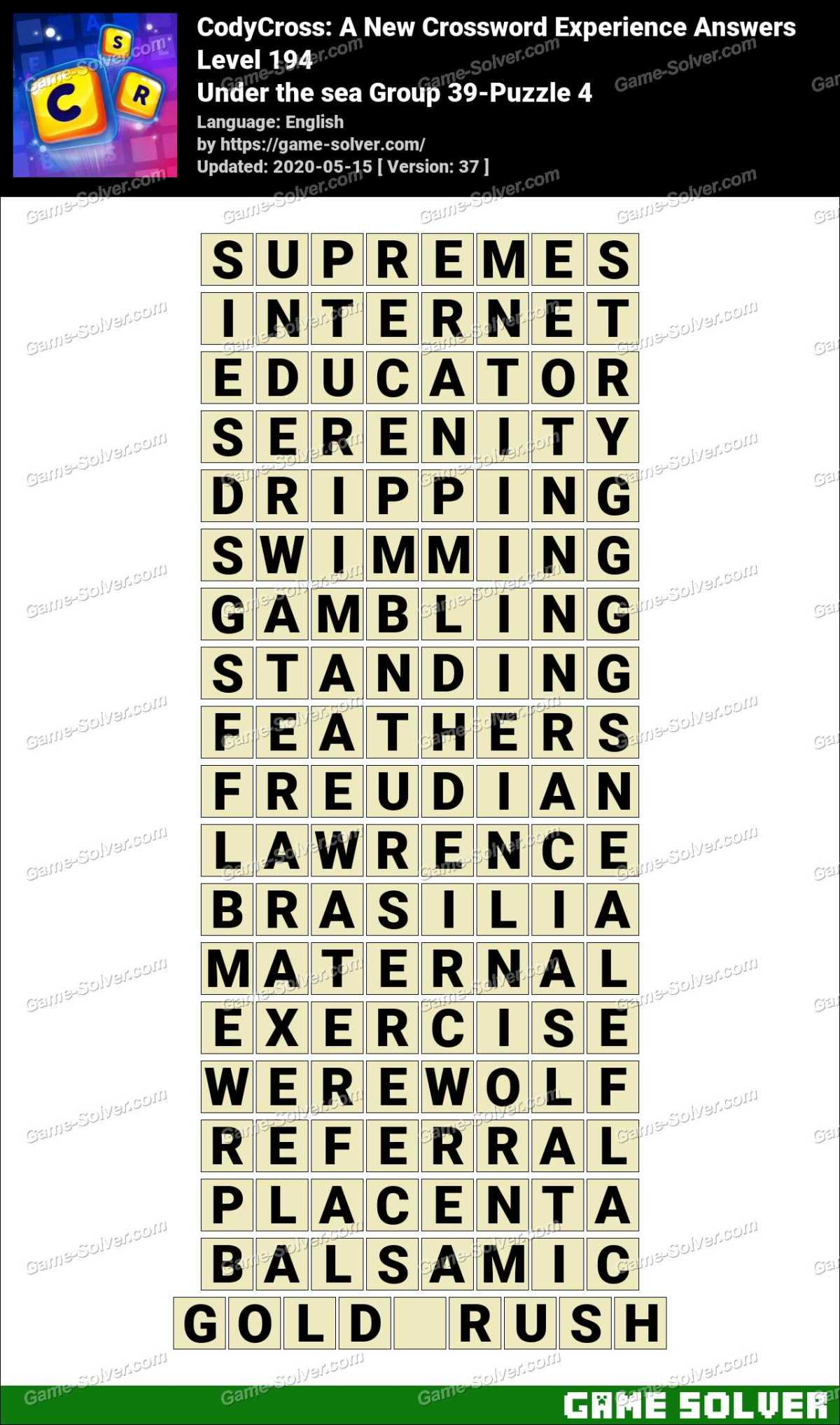 CodyCross Under the sea Group 39-Puzzle 4 Answers