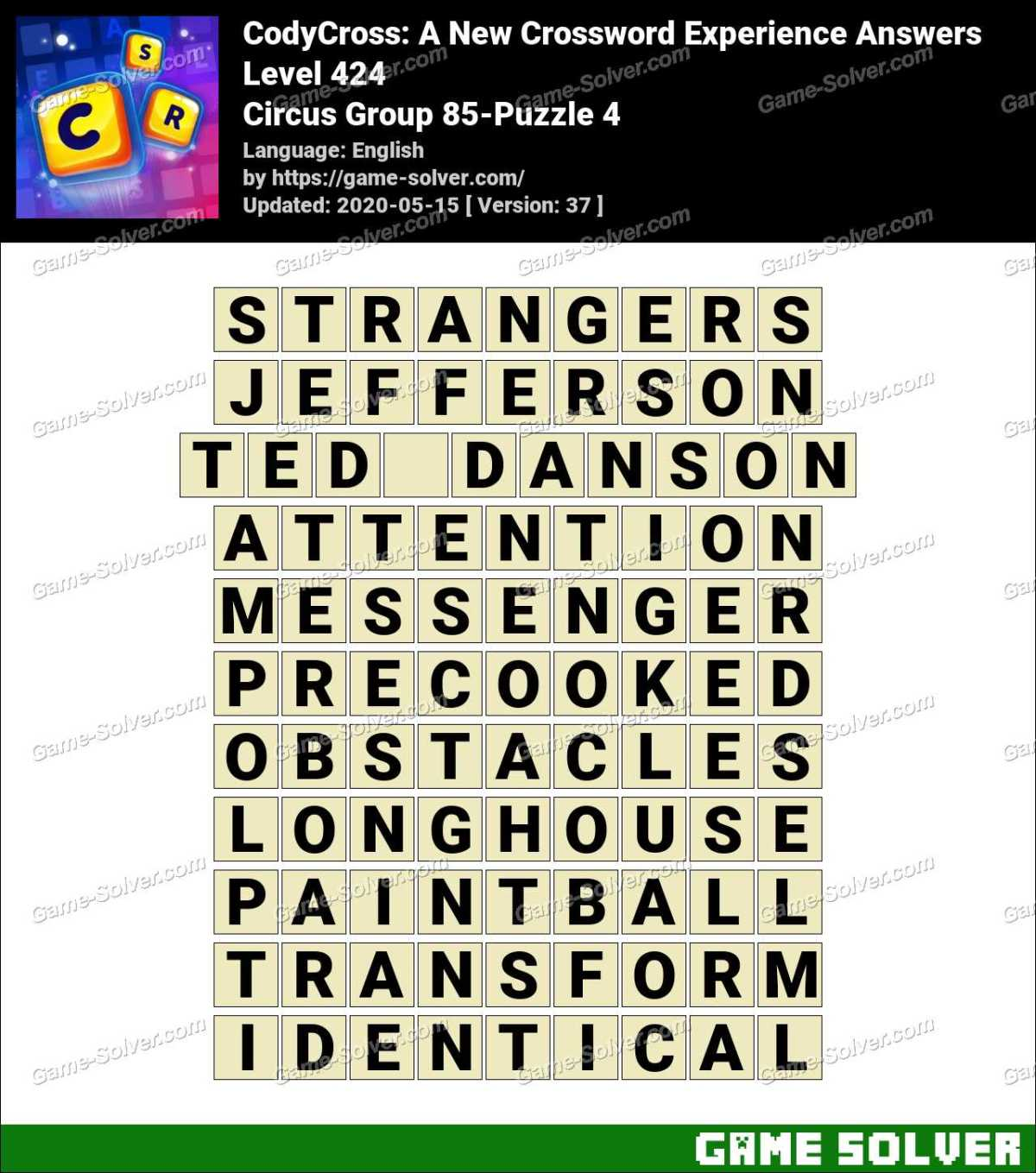 CodyCross Circus Group 85-Puzzle 4 Answers