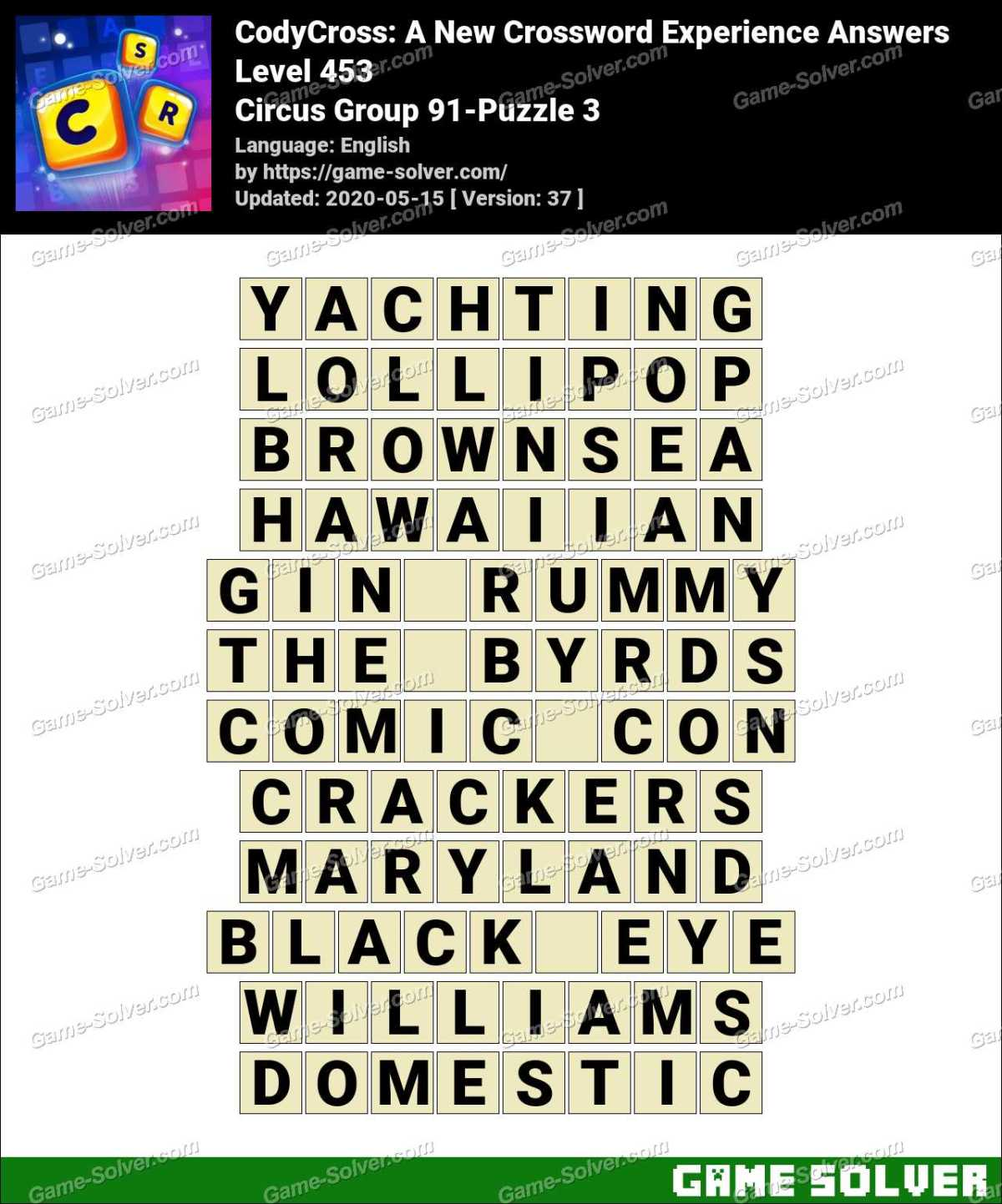 CodyCross Circus Group 91-Puzzle 3 Answers